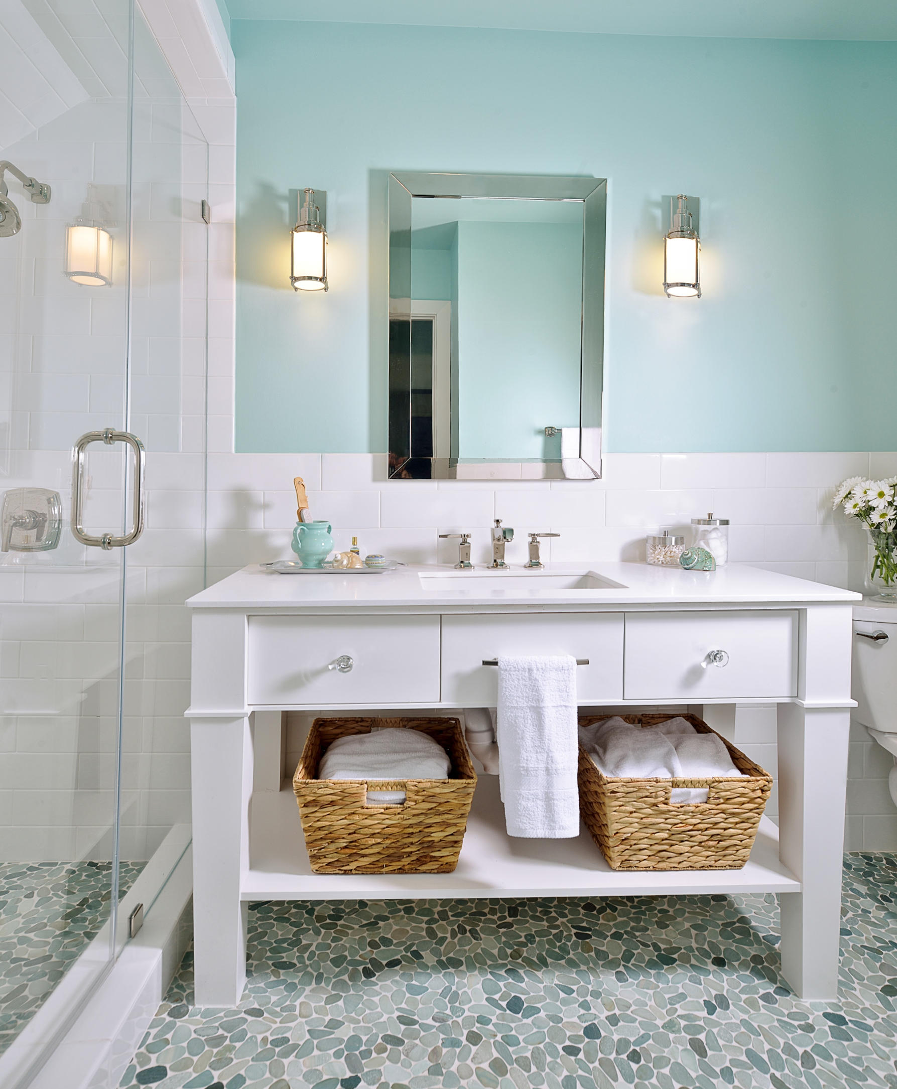 White Vanity In S Bathroom With Pebble Tile Floor Carla Aston Designer