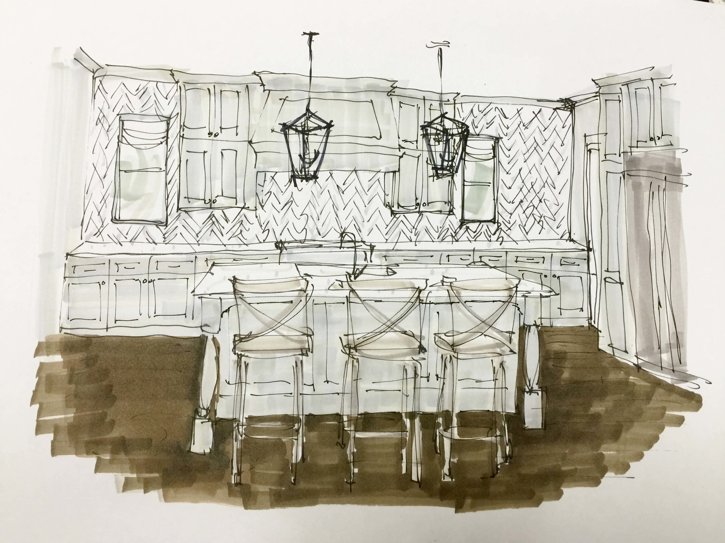 Gray and white kitchen design, sketch done with Prismacolor markers | Carla Aston, Designer