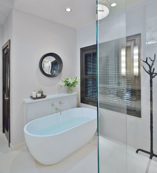 10 Of My Best Bathroom Design Tips! | Bathroom vanity with ledge or shelf at free standing tub, Designer: Carla Aston #bathroomdesign #bathroomvanity
