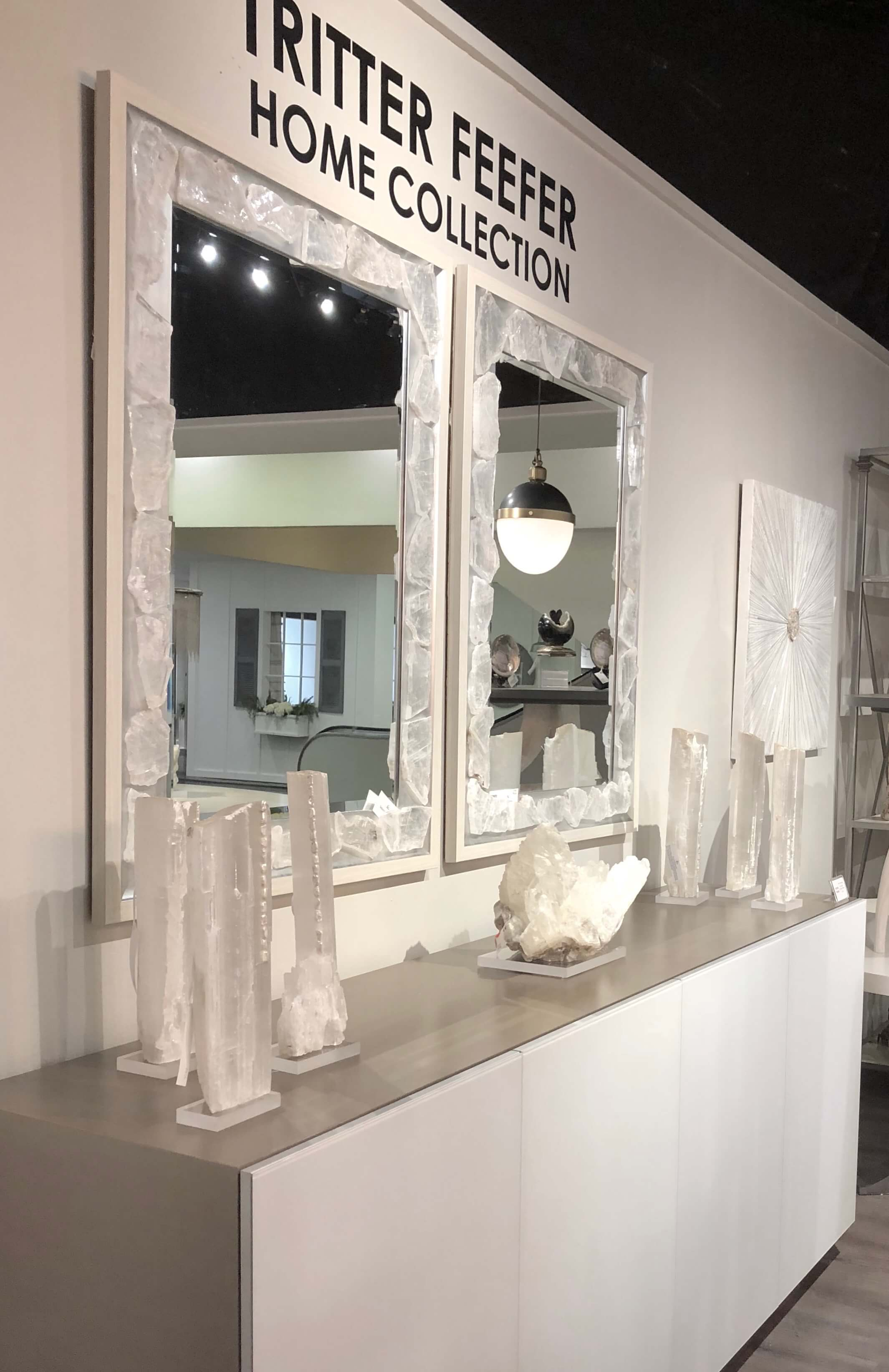 Selenite and quartz decor seen at Tritter Feefer at Highpoint Market