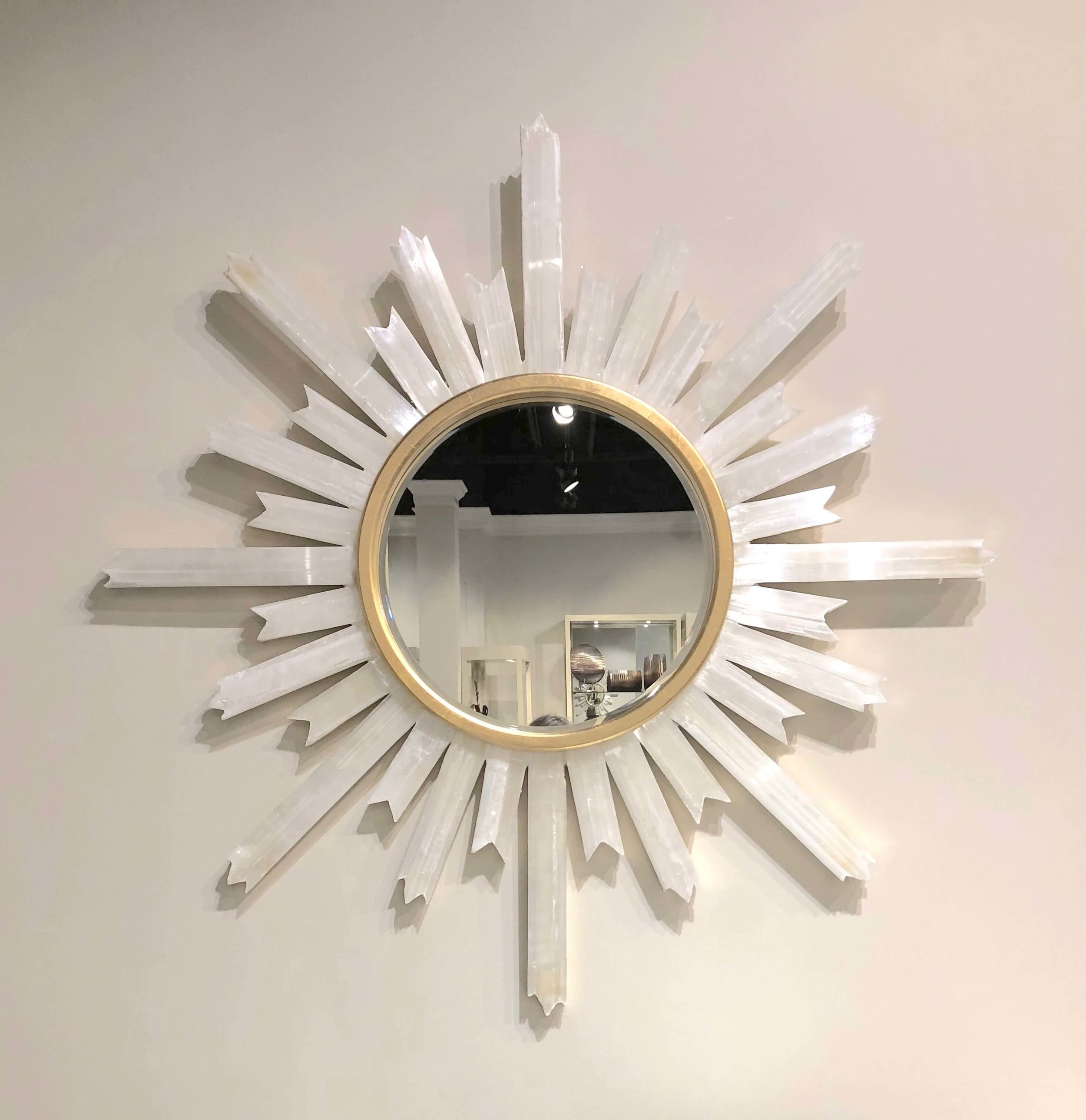 Selenite framed starburst mirror from John Richard.