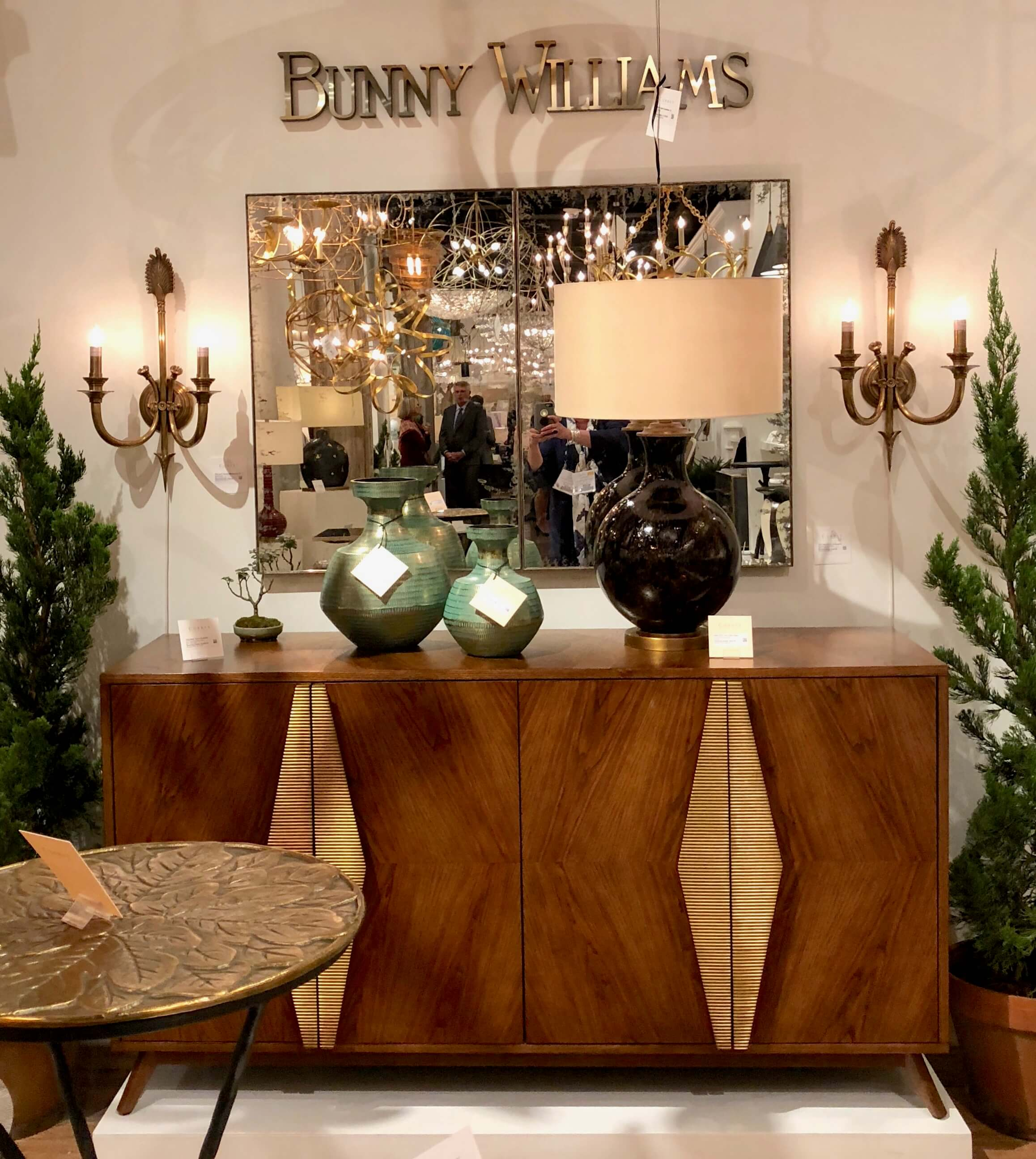 Warm wood console for Currey and Company