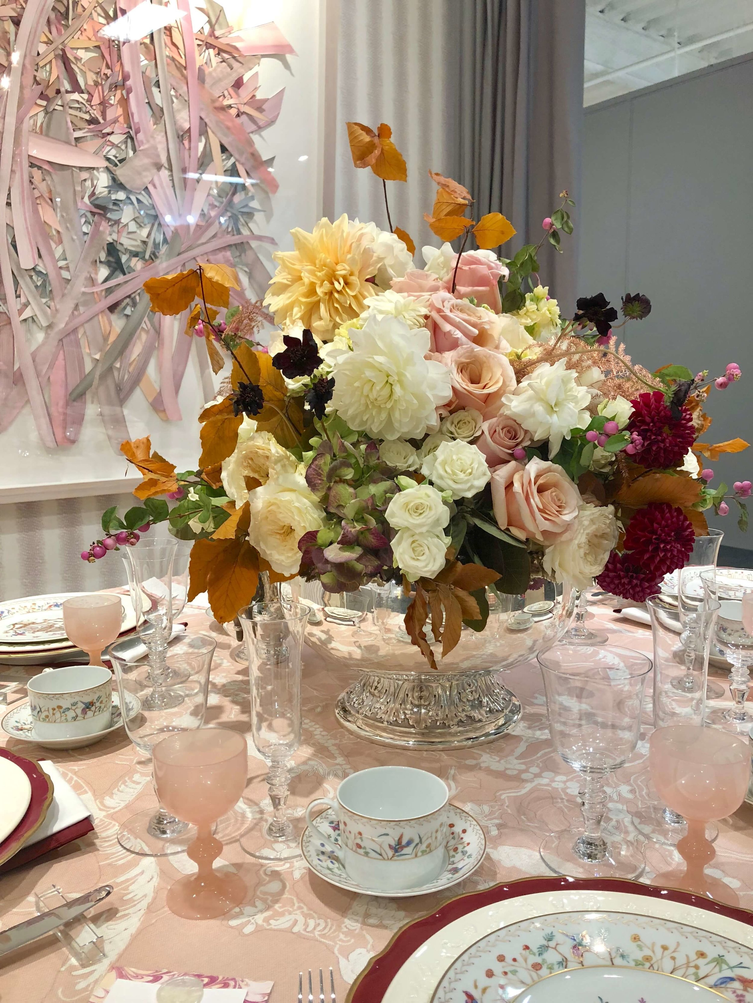 Blush pink dining tabletop designed by Traci Zeller, flowers by Pagoda Event Design #tabletop #blush #diningroom #diningroomideas #diningroomdecor #tablesetting #floralarrangement #blushpinkflowers #centerpiece