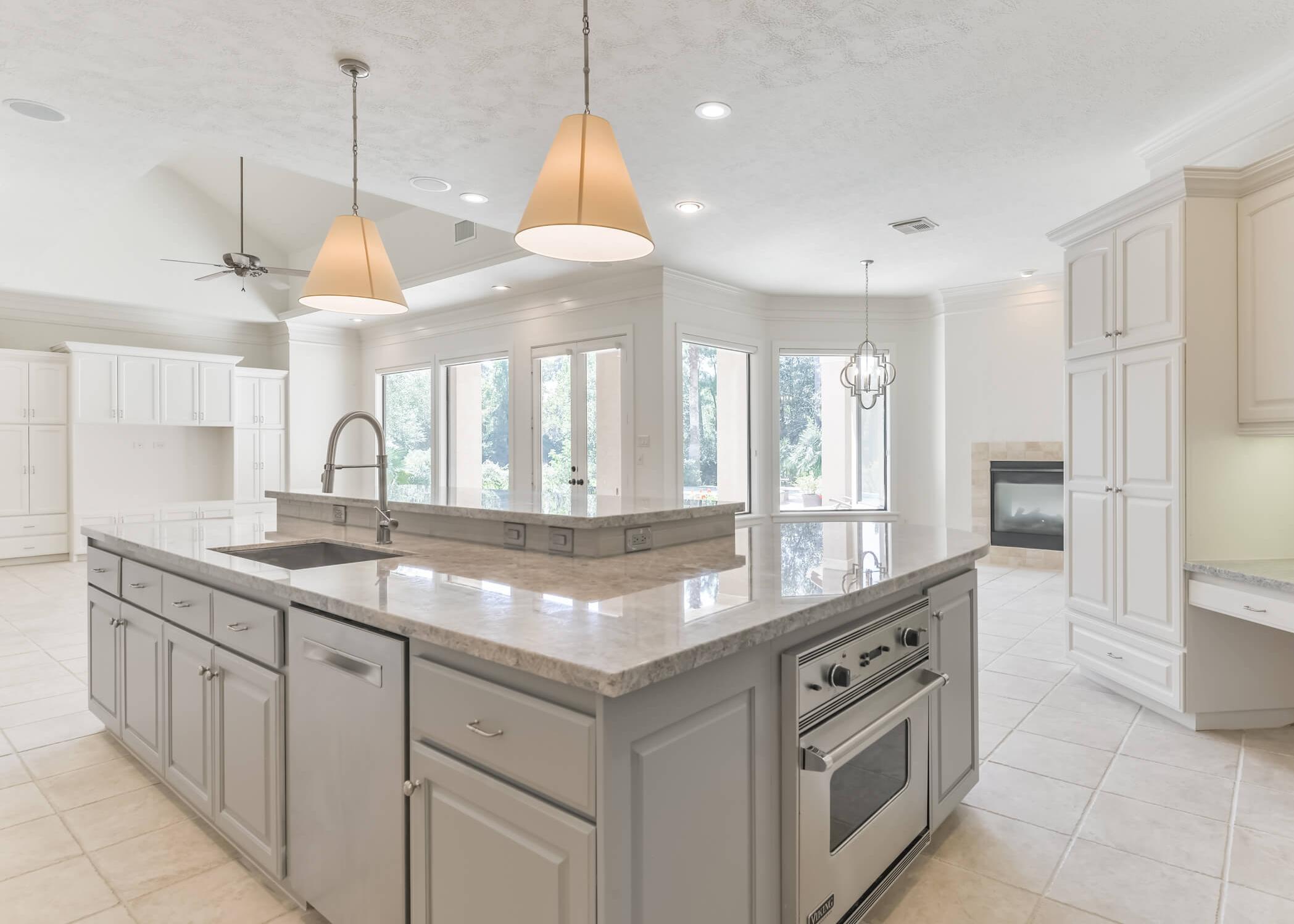 """""""AFTER"""" KITCHEN REMODEL - Designer: Carla Aston #kitchenremodel #graykitchen #kitchenisland #kitchenremodelideas #kitchenislandideas"""