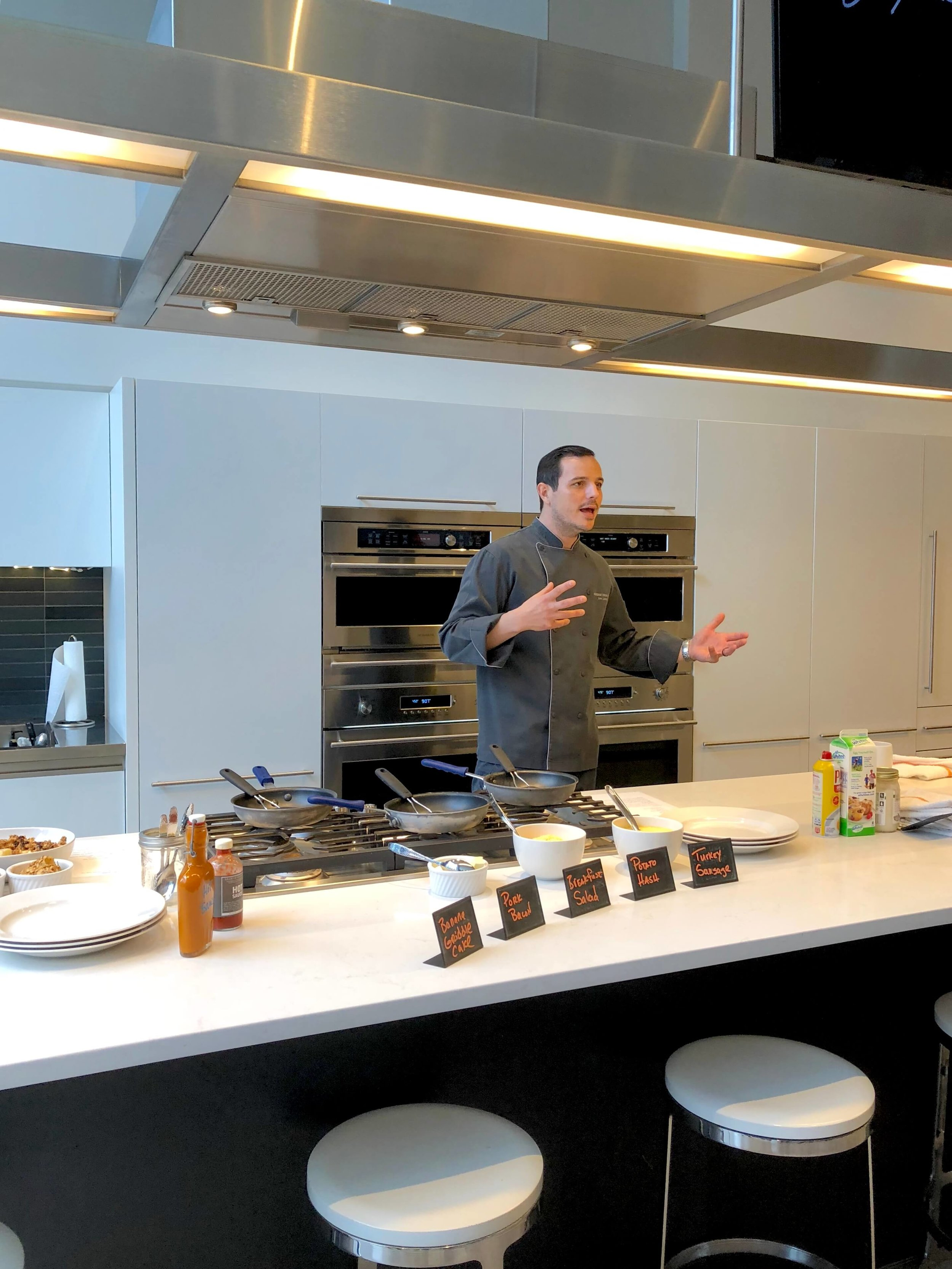 Cooking with a chef at Monogram Appliances showroom