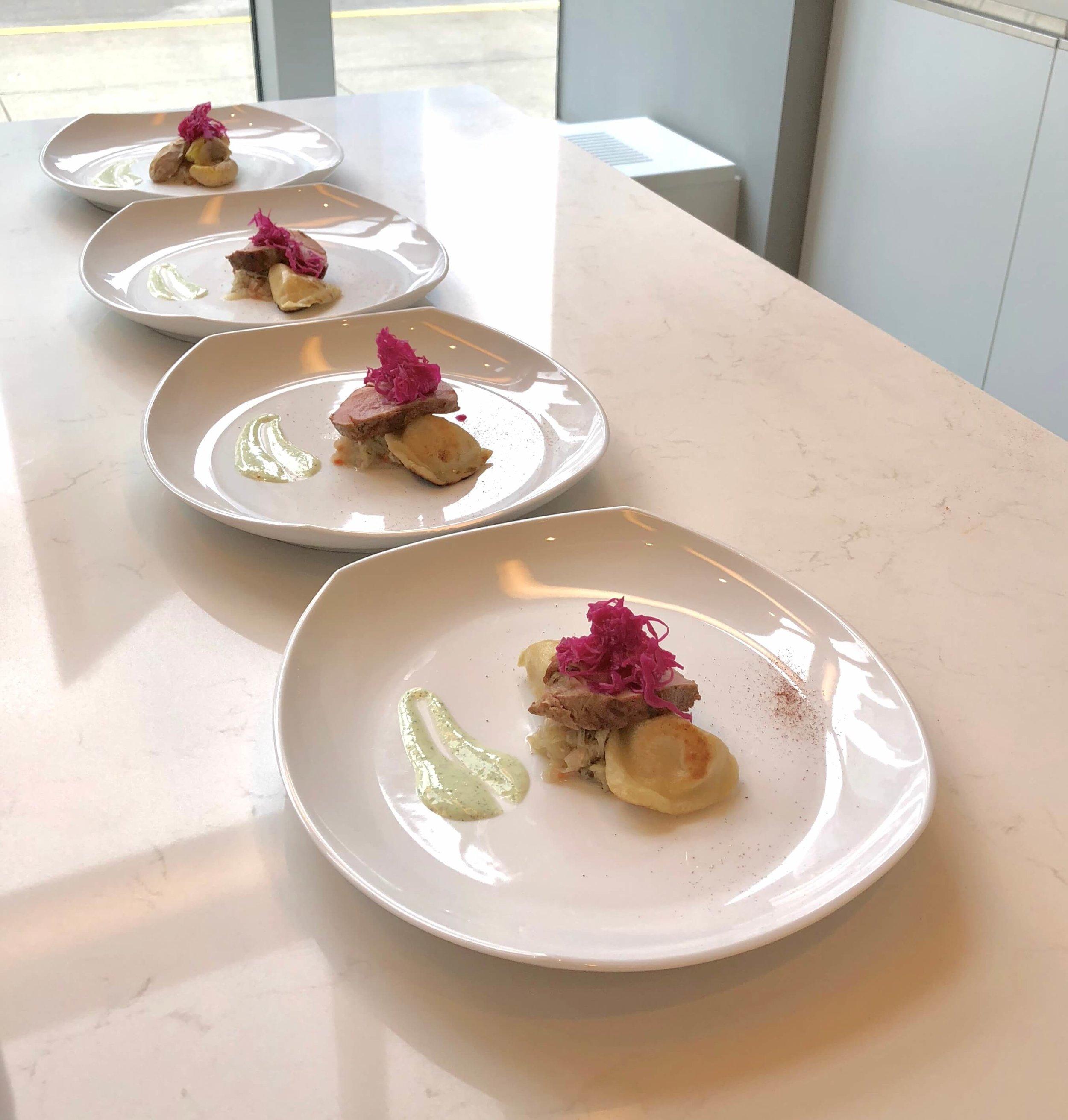 Cooking with a chef at Monogram Appliances showroom #porktenderloin #monogramappliances