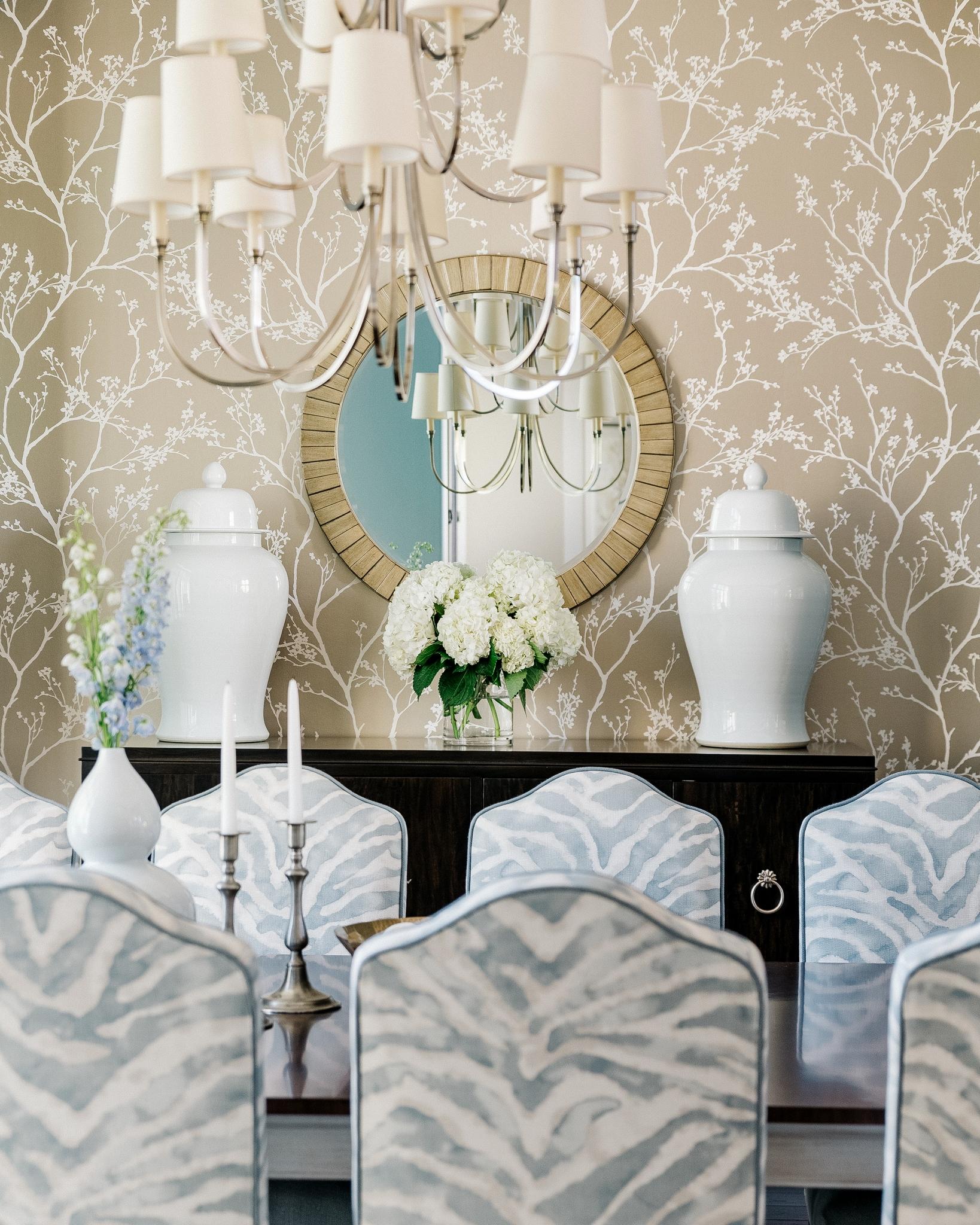 Elegant blue dining room   Carla Aston - Designer, Colleen Scott - Photographer #diningroomideas #diningroom #bluediningroom #zebrapattern