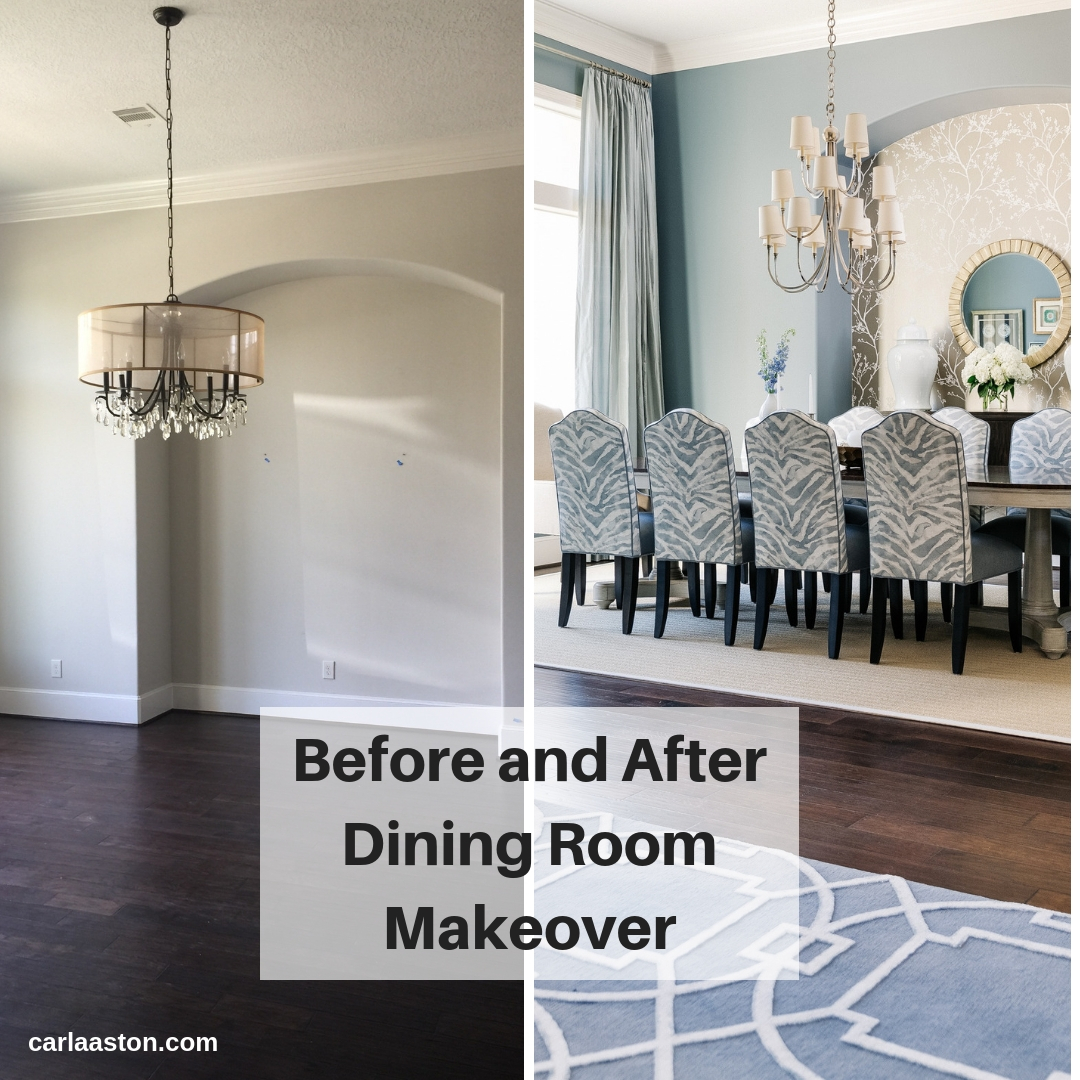 BEFORE AND AFTER DINING ROOM   Carla Aston, Designer   #diningroom #diningroomideas #diningroomdecor