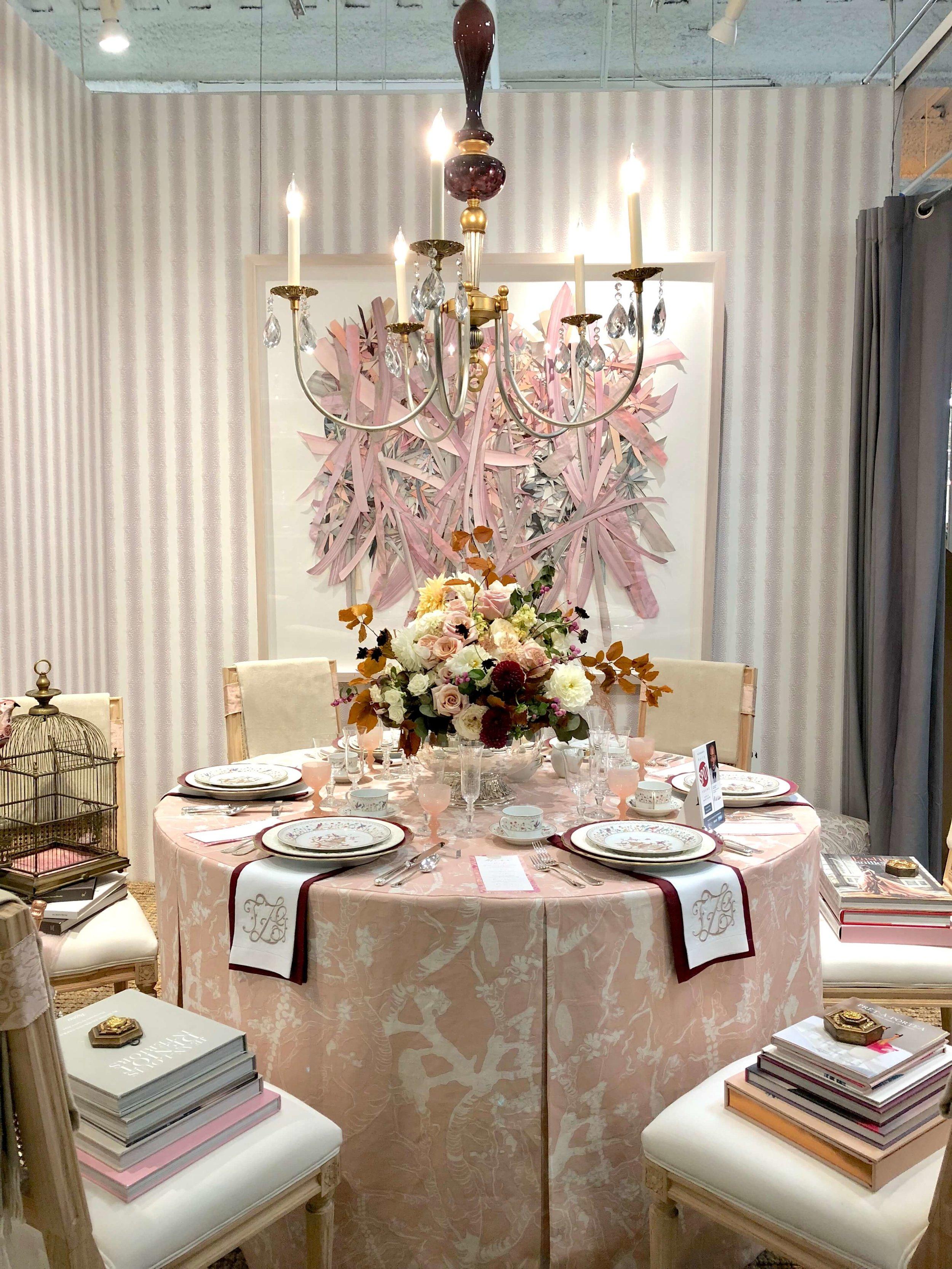 Pink dining room designed by Traci Zeller for Replacements, Ltd. Showroom #hpmkt #pinkroom #diningroomideas