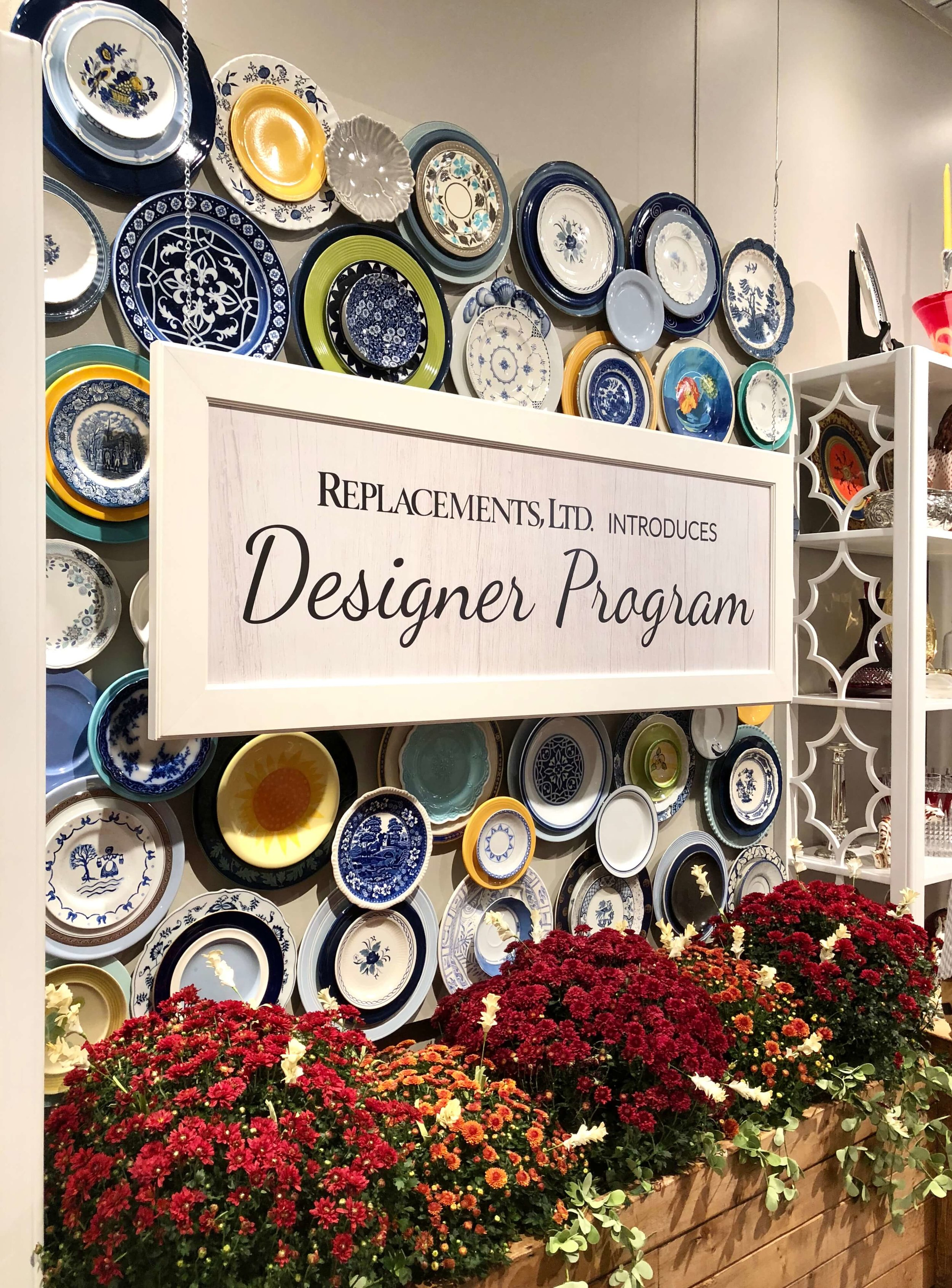 Plate wall at the Replacements, Ltd. showroom #hpmkt #platewall #wallplates #walldecor #platesonthewall
