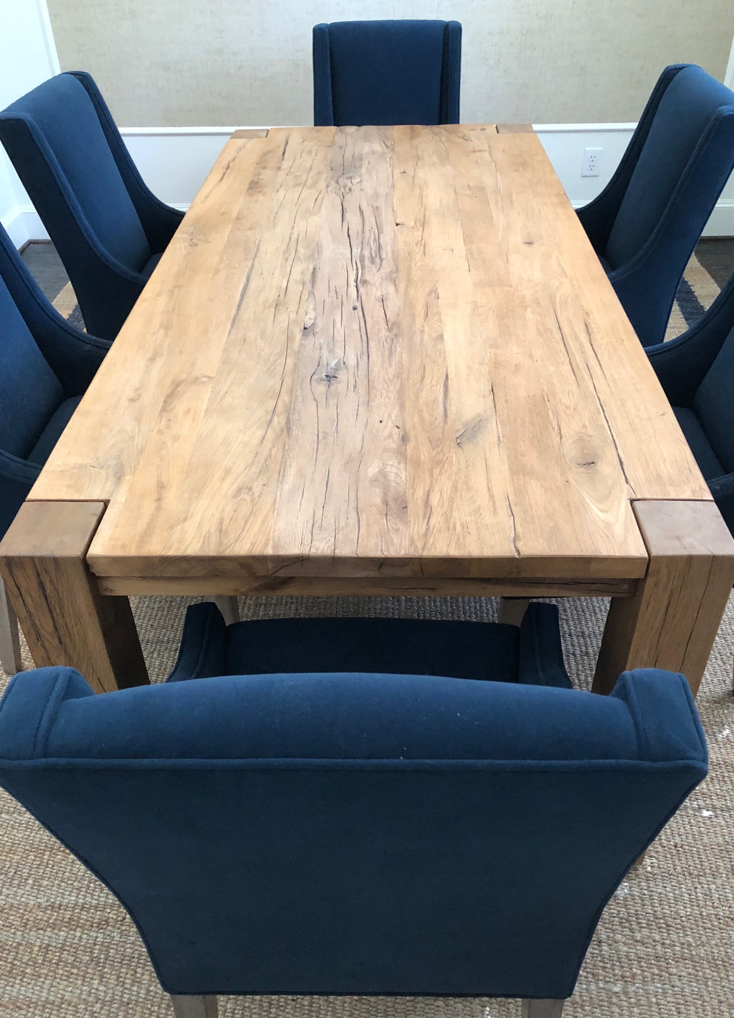 Rustic dining table with navy blue chairs | Dining room, Carla Aston - Designer