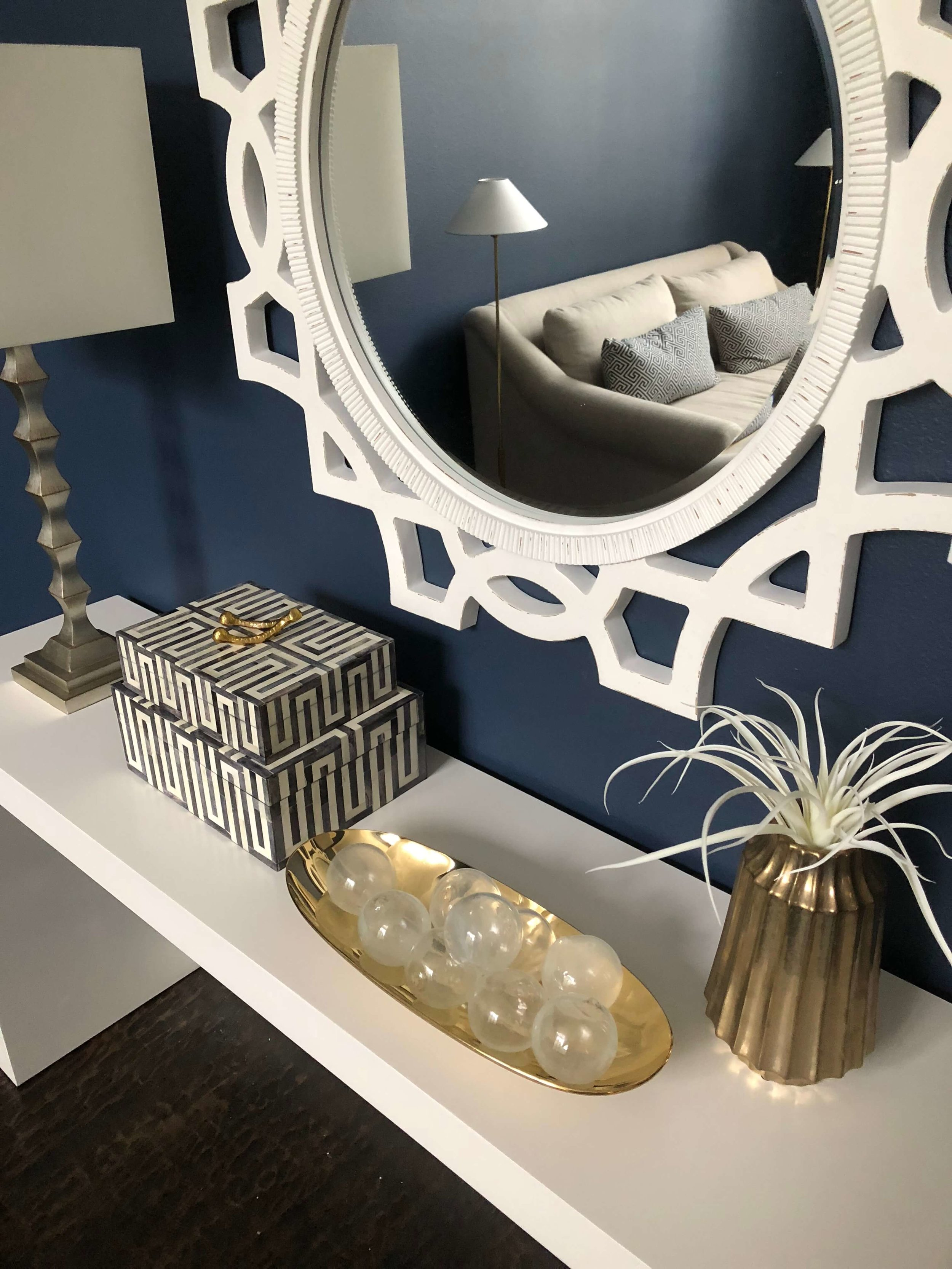 Navy blue walls with white console and mirror |  Carla Aston, Designer  #homedecor #navywalls #entryhall #foyer  #console