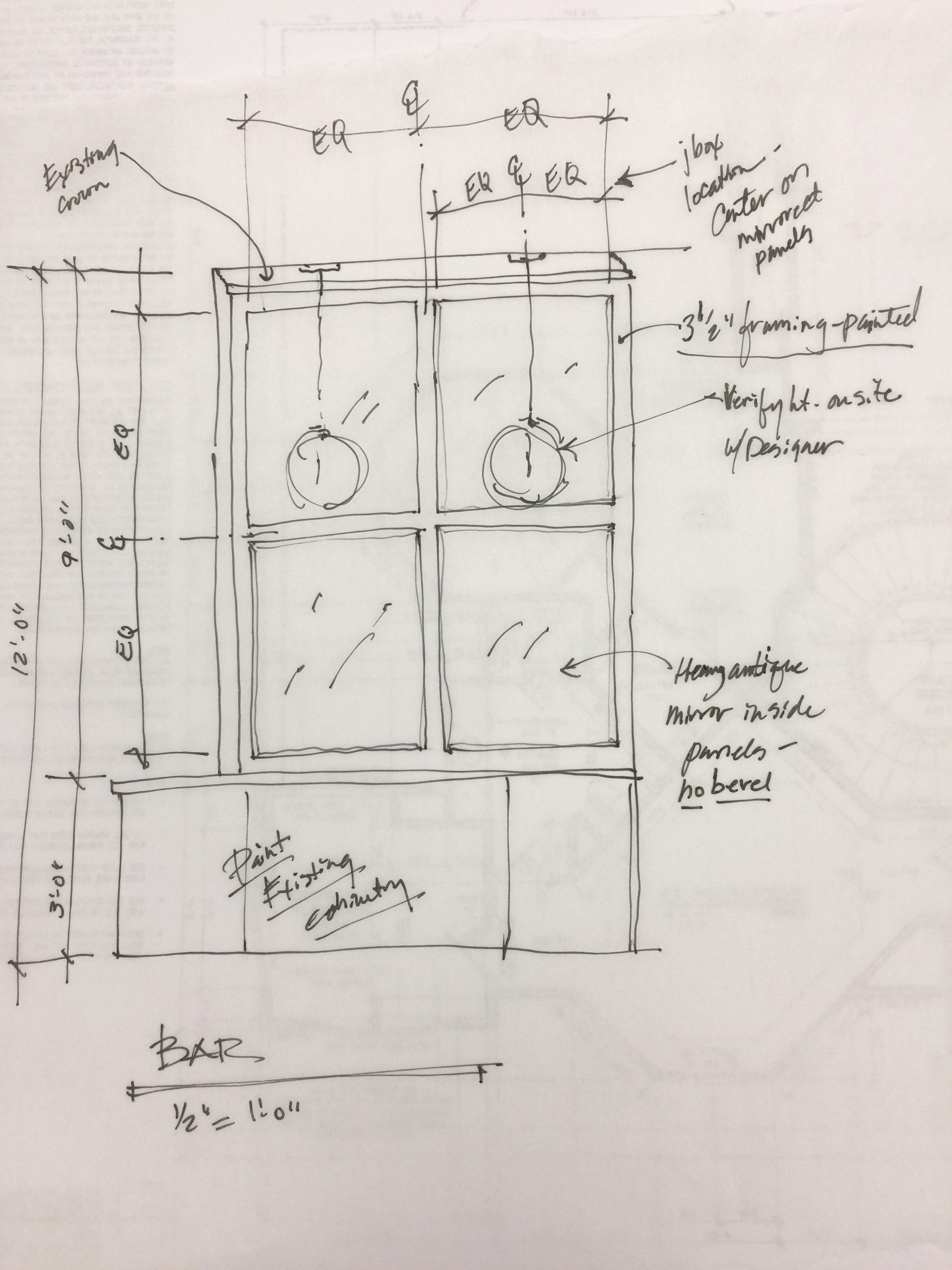 Design Sketch - Home wine bar transformation, Designer: Carla Aston | #remodeling #cabinetry #butlerspantry