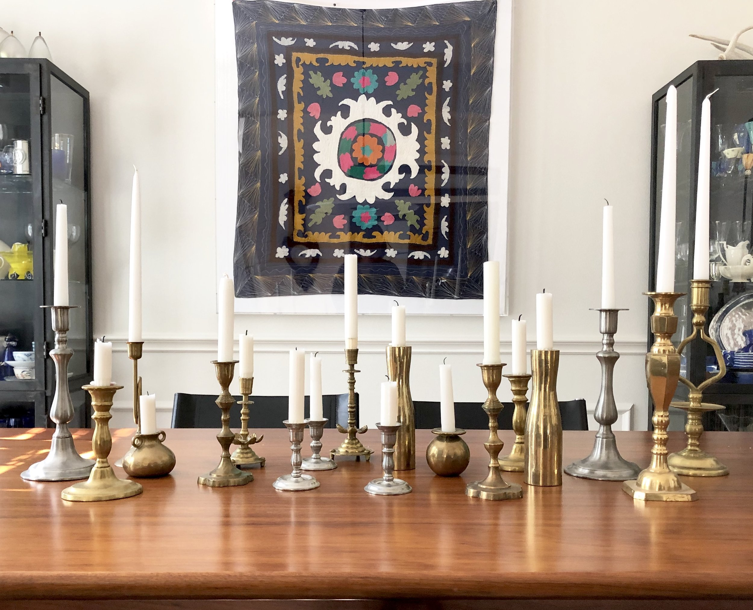 Tabletop with trending taper candles | #tapercandles #candlesticks #interiordesigntrends #trending