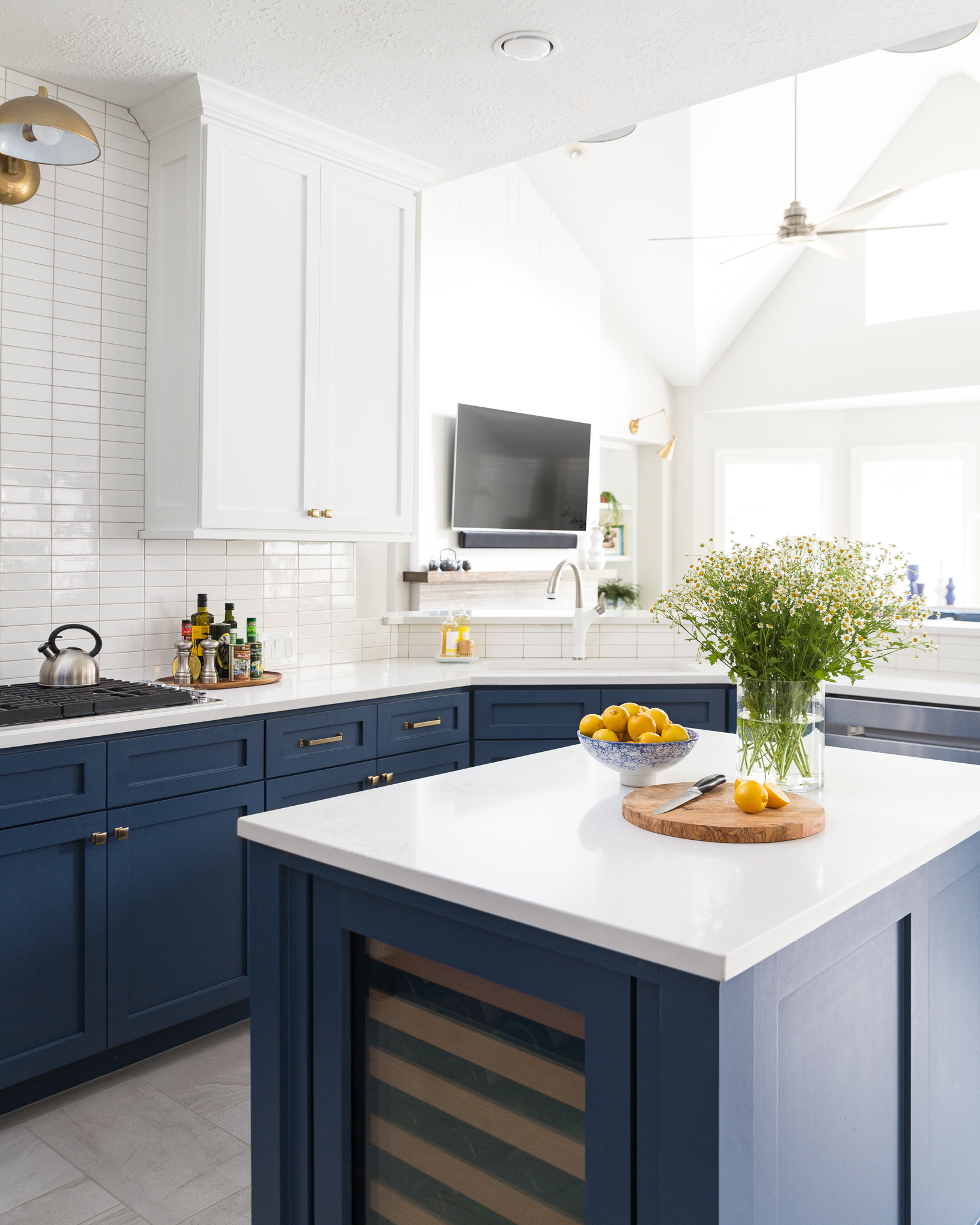 Before And After A Navy And White Kitchen And Breakfast