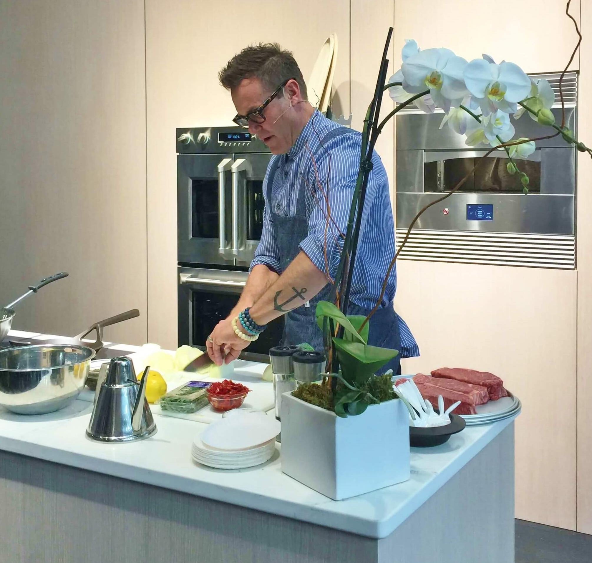Chef at Monogram Appliances booth - KBIS 2018