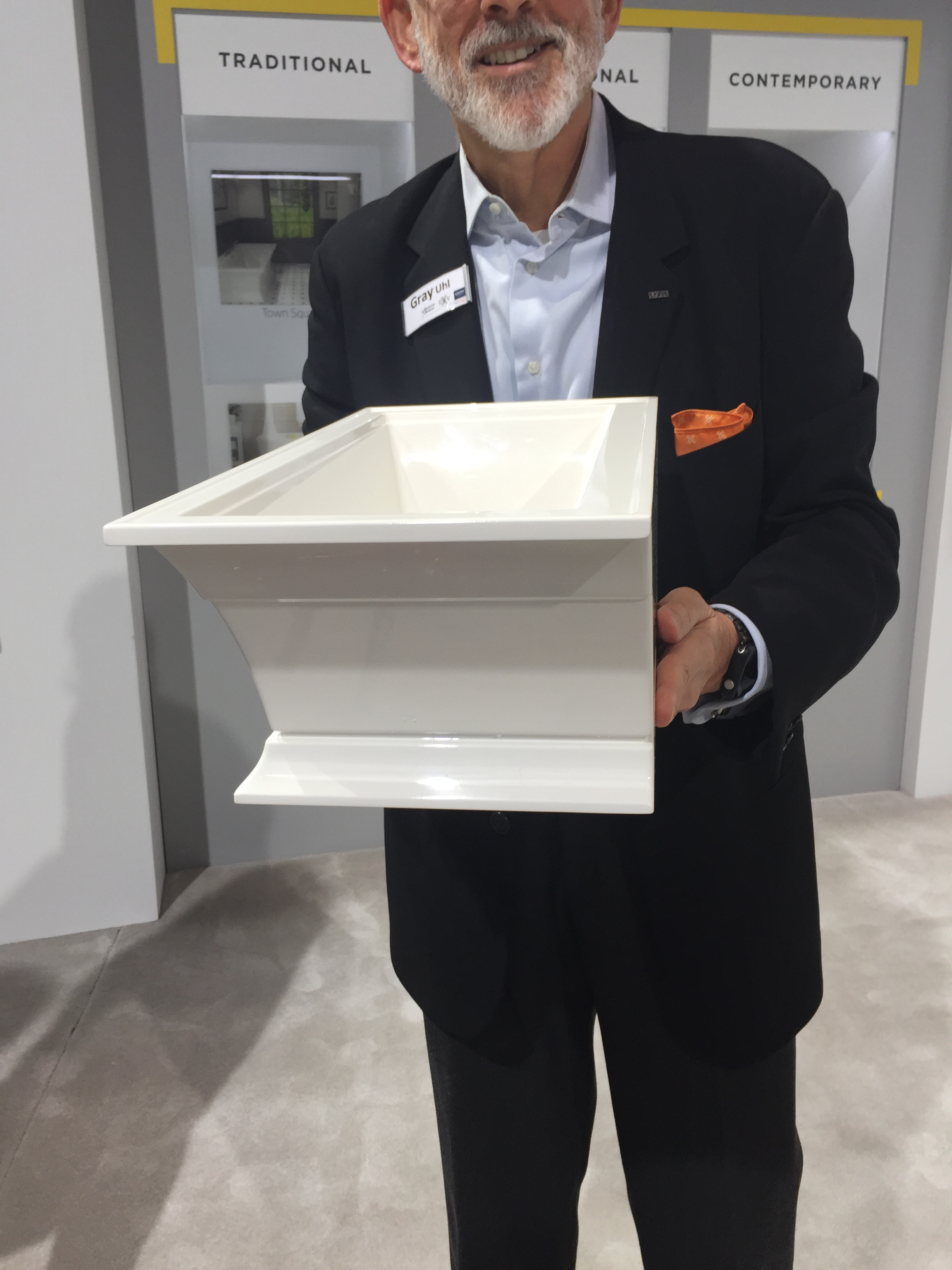 Found this great mock up of a free standing tub that snugs up to a wall last year - KBIS, Kitchen and Bath Industry Show