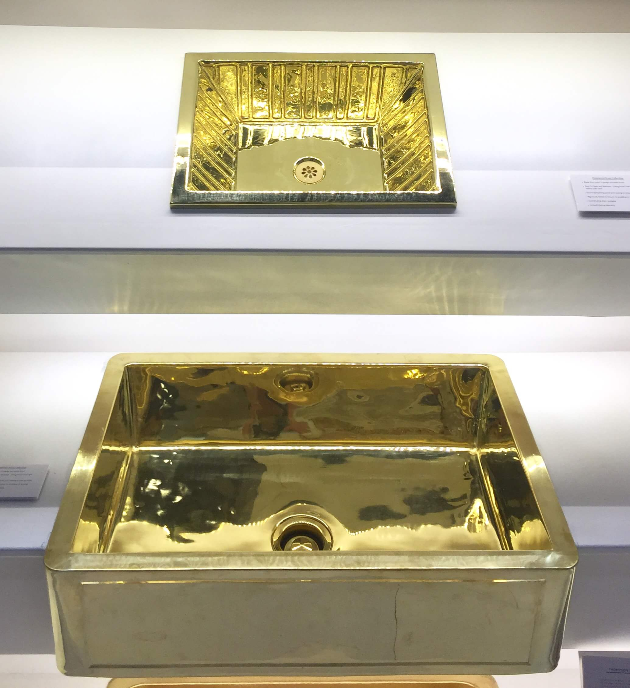 Polished brass sinks from Thompson Traders - KBIS, Kitchen and Bath Industry Show