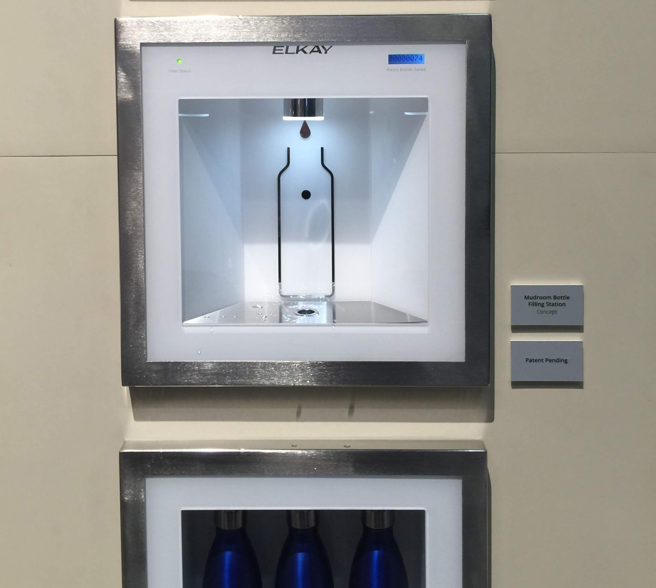 Elkay water bottle filler for a mudroom - KBIS, Kitchen and Bath Industry Show