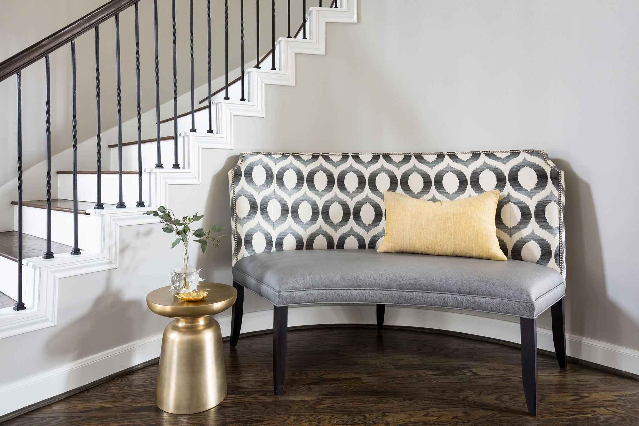 BEFORE AND AFTER - A Fresh, Light Family-Friendly Home Makeover | Carla Aston, Designer | Colleen Scott, Photographer #stair #bench #entryhall