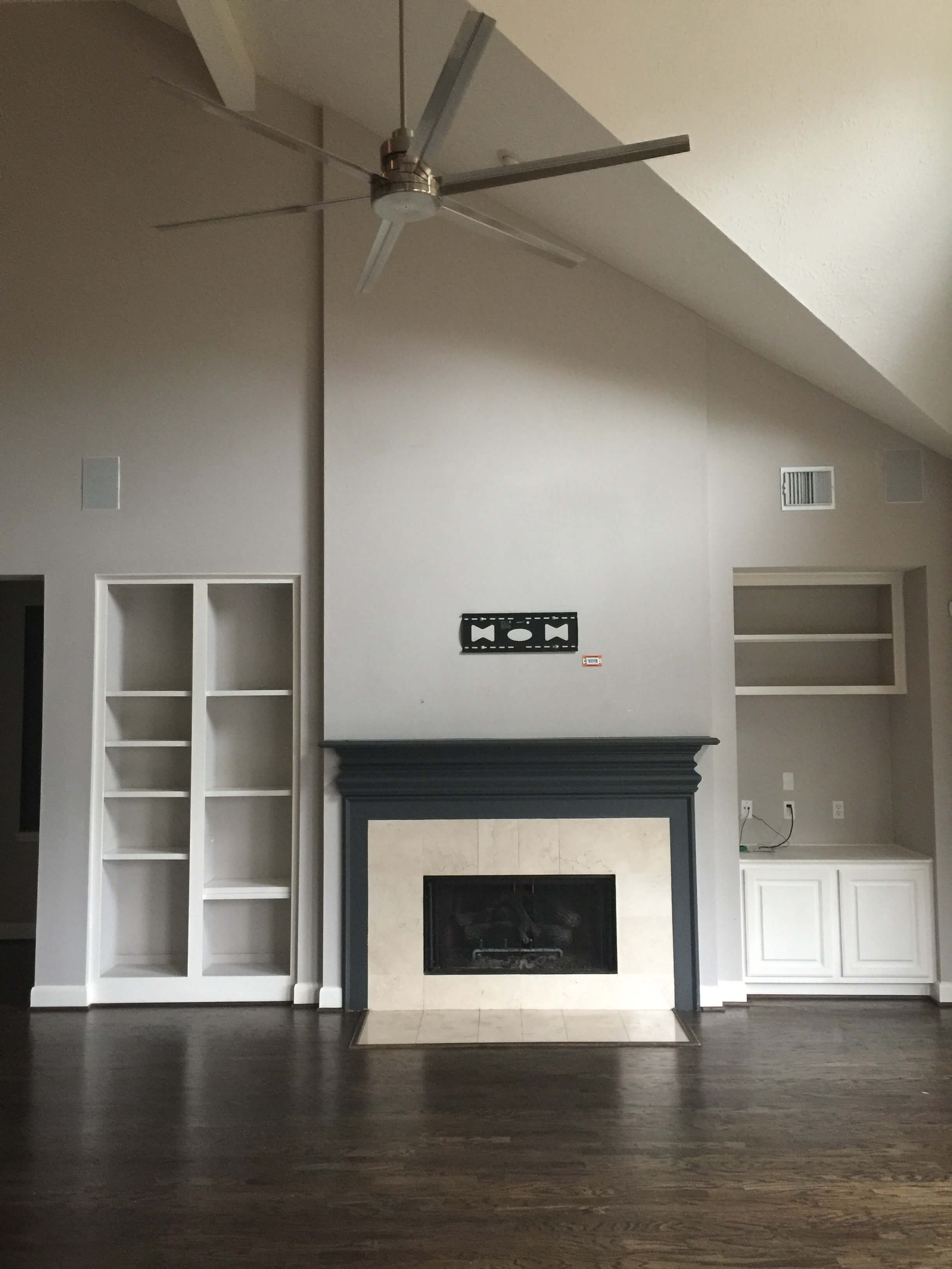 BEFORE pic - Fireplace wall remodel | Before After Family Friendly Home Makeover