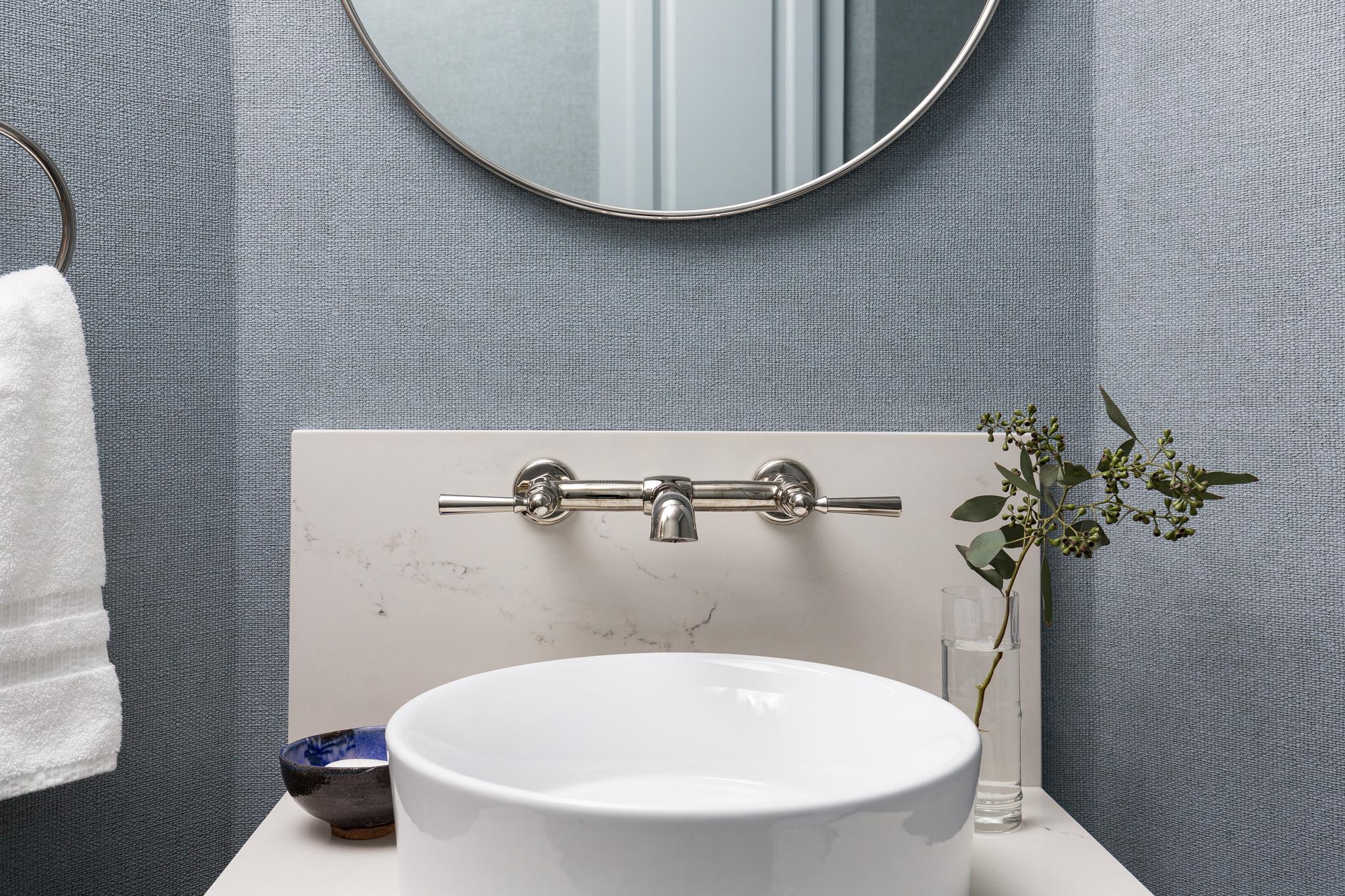 Family Friendly Powder Bath Remodel | Carla Aston, Designer | Colleen Scott, Photographer #powderbath #powderroom #wallmountfaucet #vesselsink