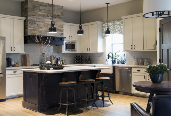 AFTER Kitchen Remodel w/ new hood, island, counters and backsplash, paint on existing cabinetry | Carla Aston, Designer | Tori Aston, Photographer