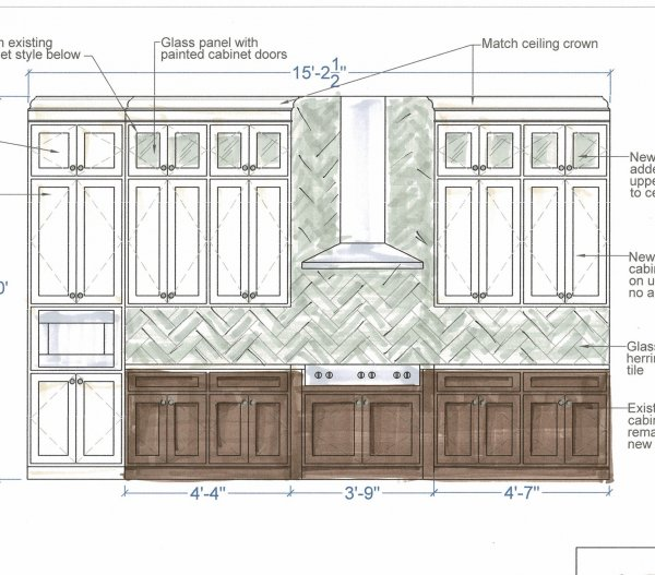 Proposed drawing for kitchen remodel with herringbone backsplash