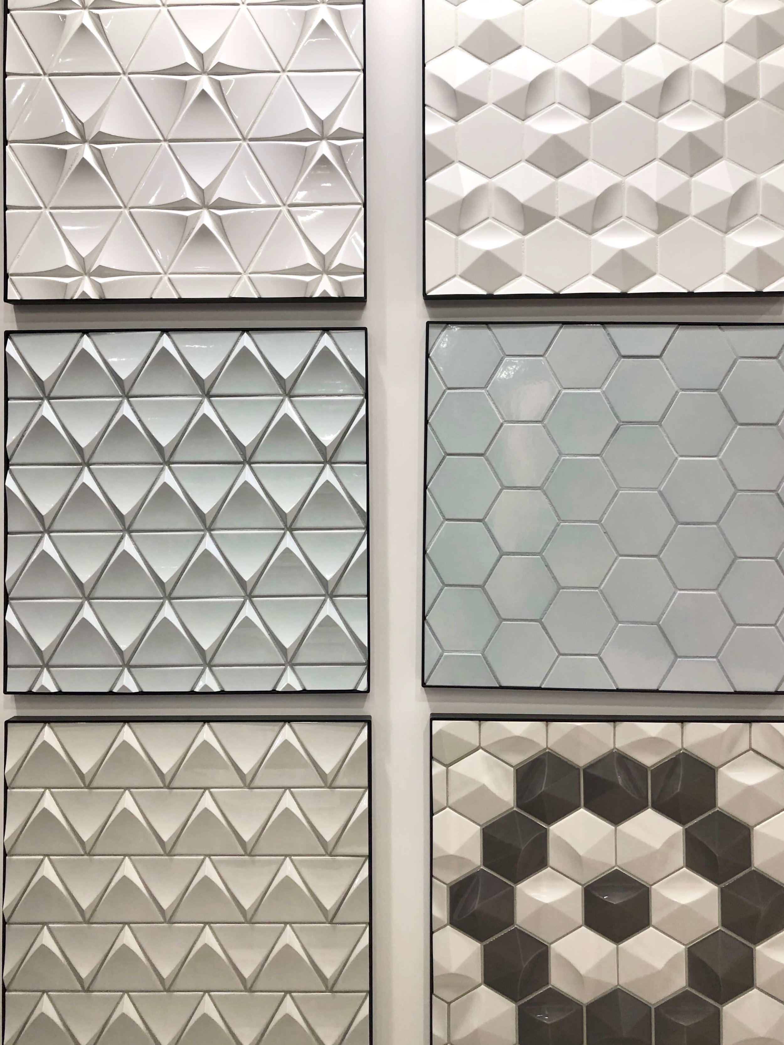 3 Dimensional tiles in hex and diamond shapes at Bedrozian, KBIS 2019 Surfaces Trends