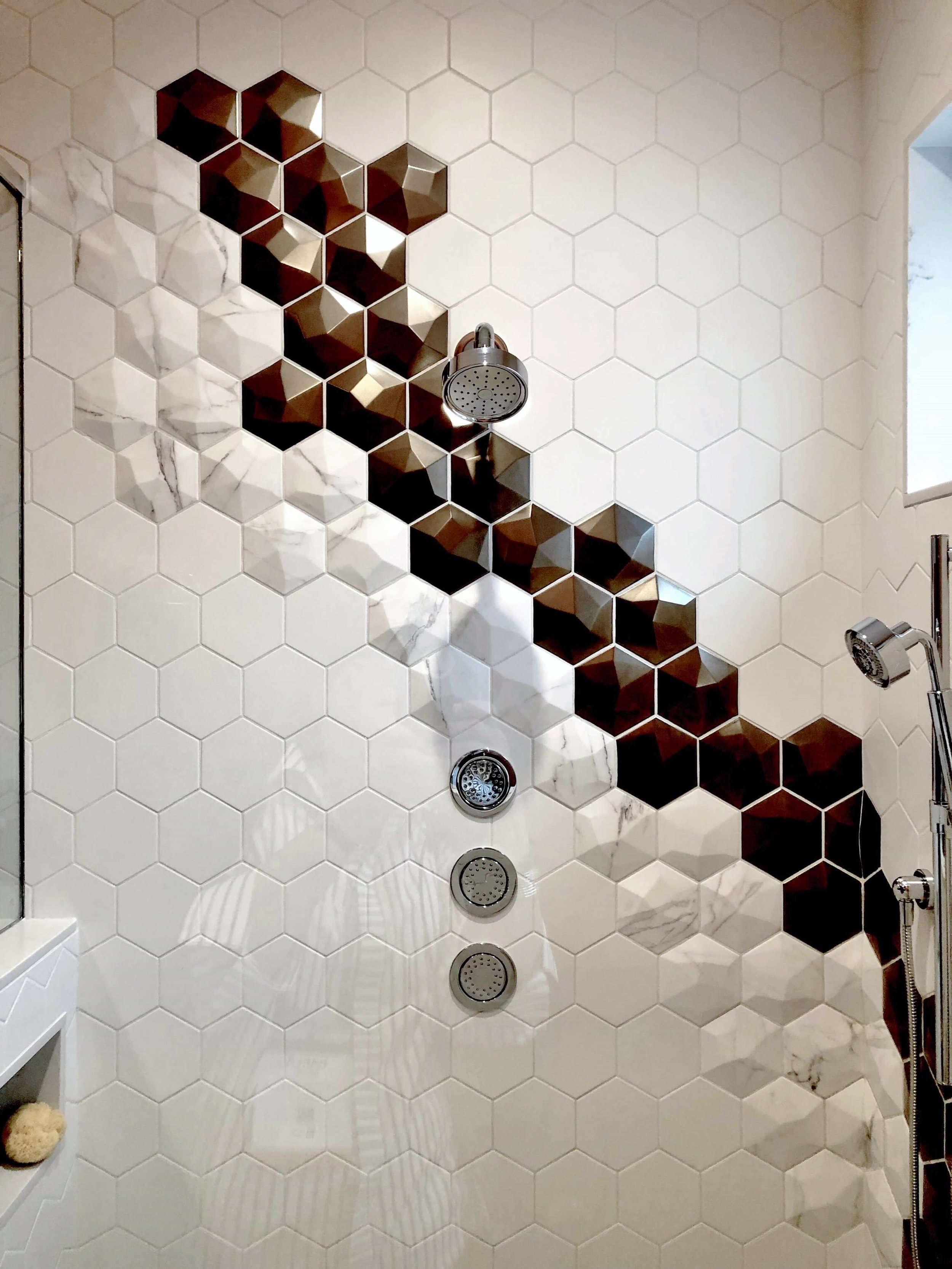 3 Dimensional hex tiles, KBIS 2019 Surfaces Trends | The New American Remodel shower stall
