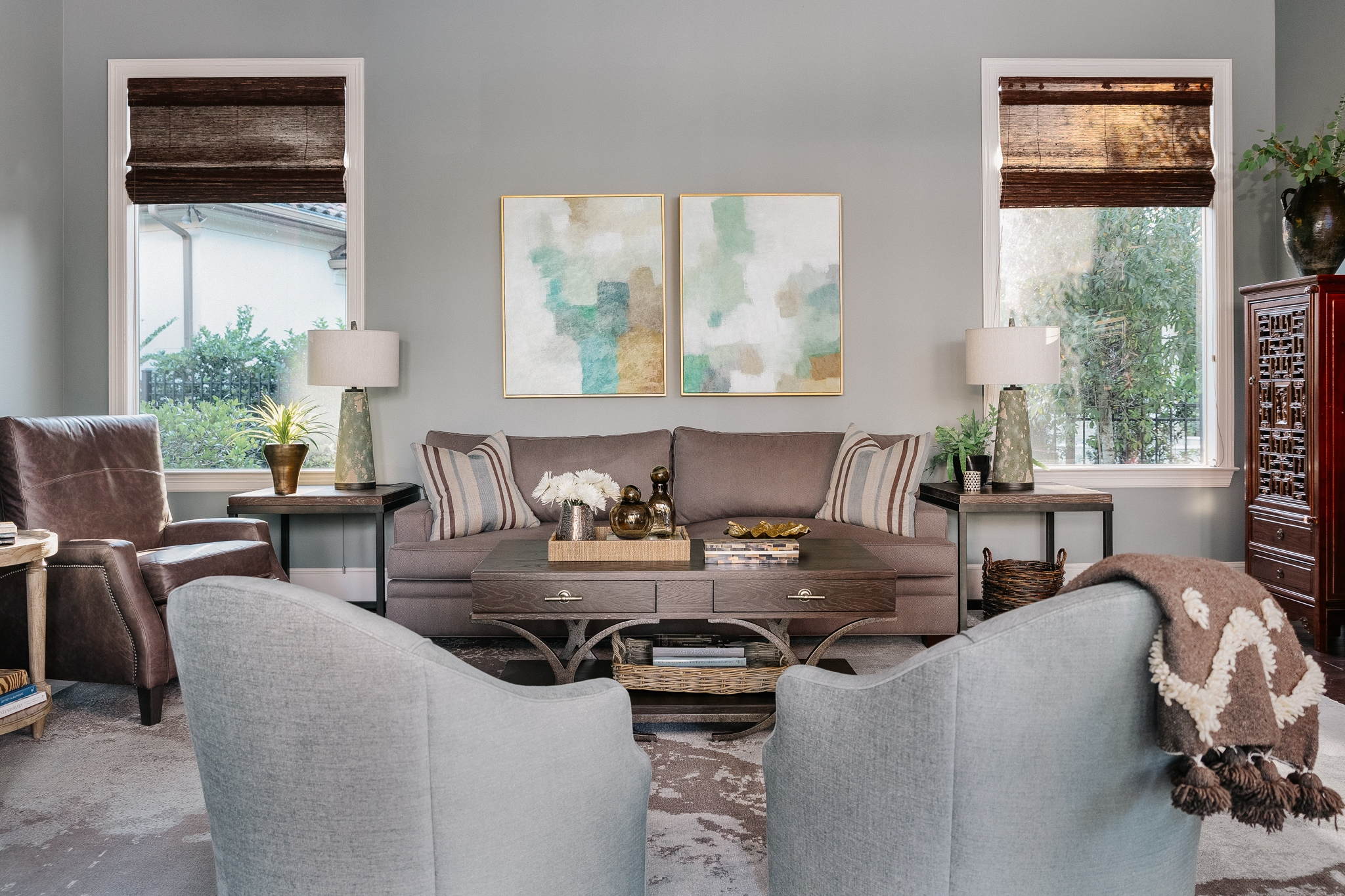 Gray green family room | Carla Aston, Designer | Colleen Scott, Photographer