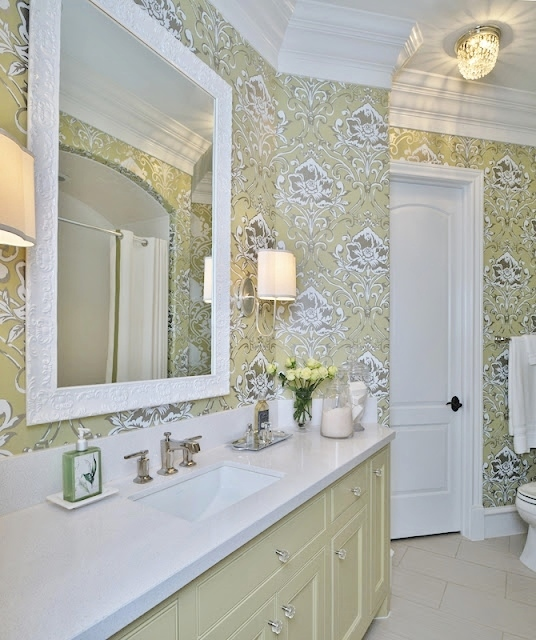 Girl's green feminine bathroom w/wallpaper | Carla Aston, Designer | Miro Dvorscak, Photographer