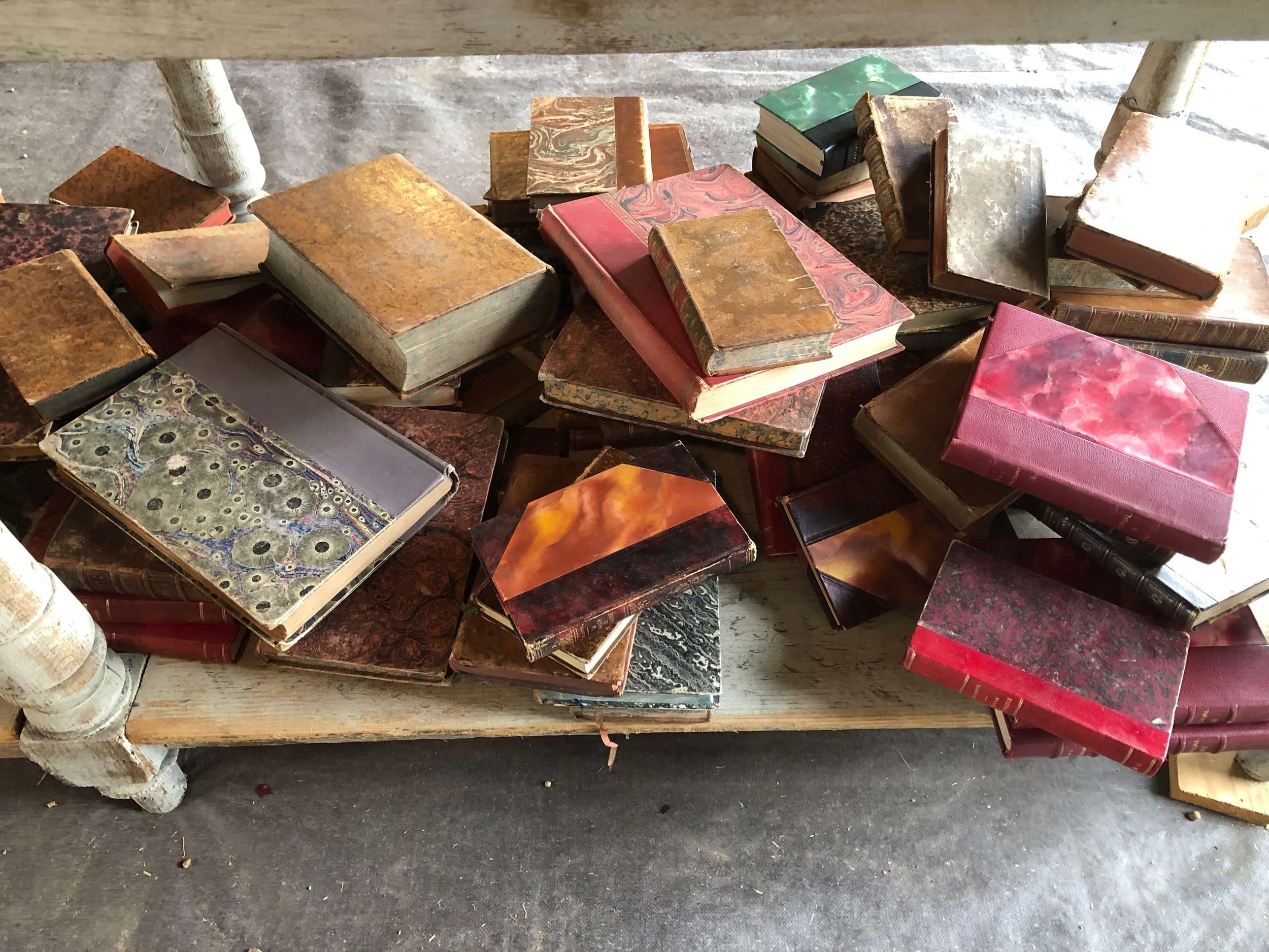 Antique colorful books | Blue Hills, Round Top Antiques Fair