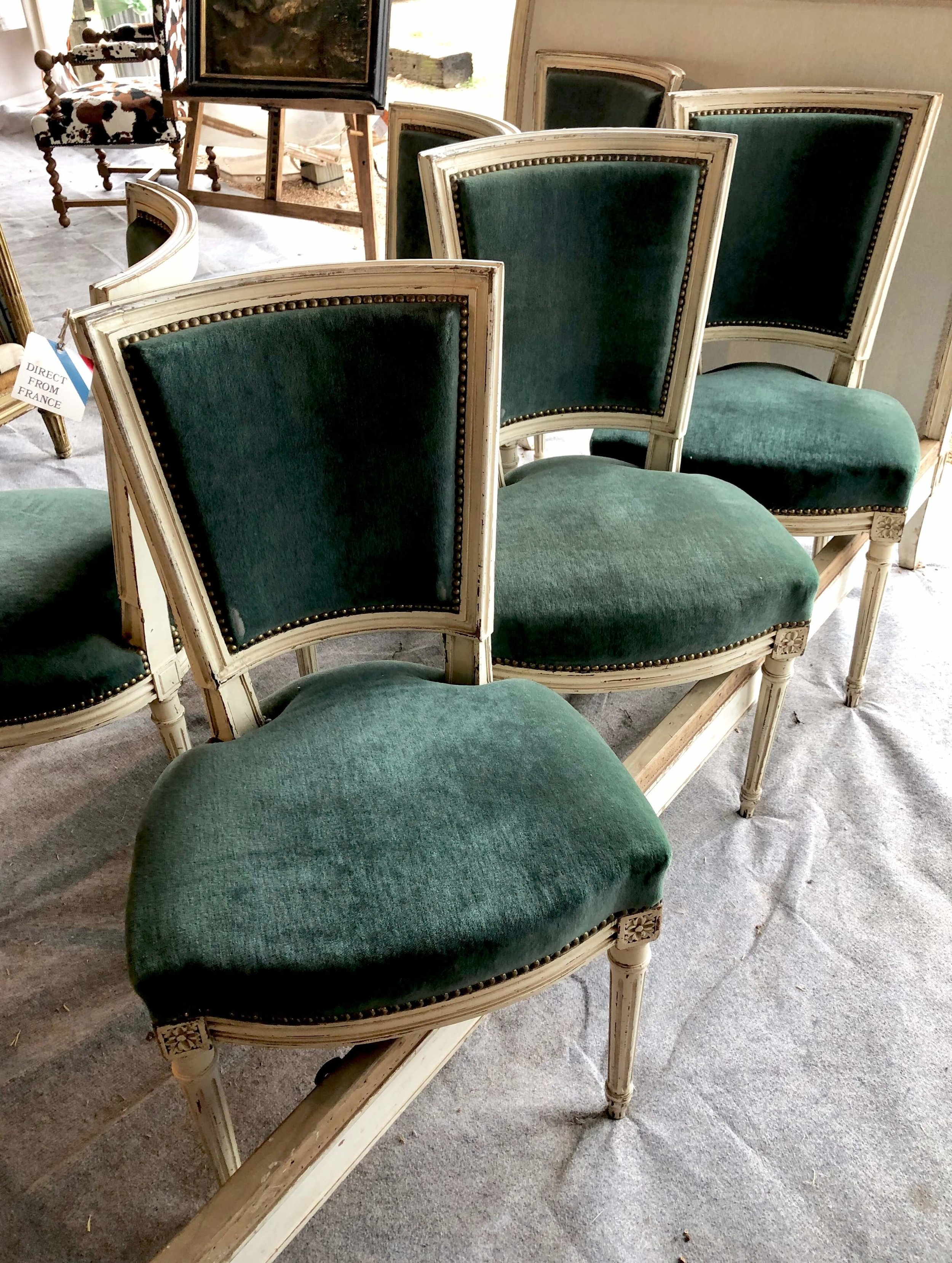 Vintage green velvet dining chairs | Blue Hills, Round Top Antiques Fair