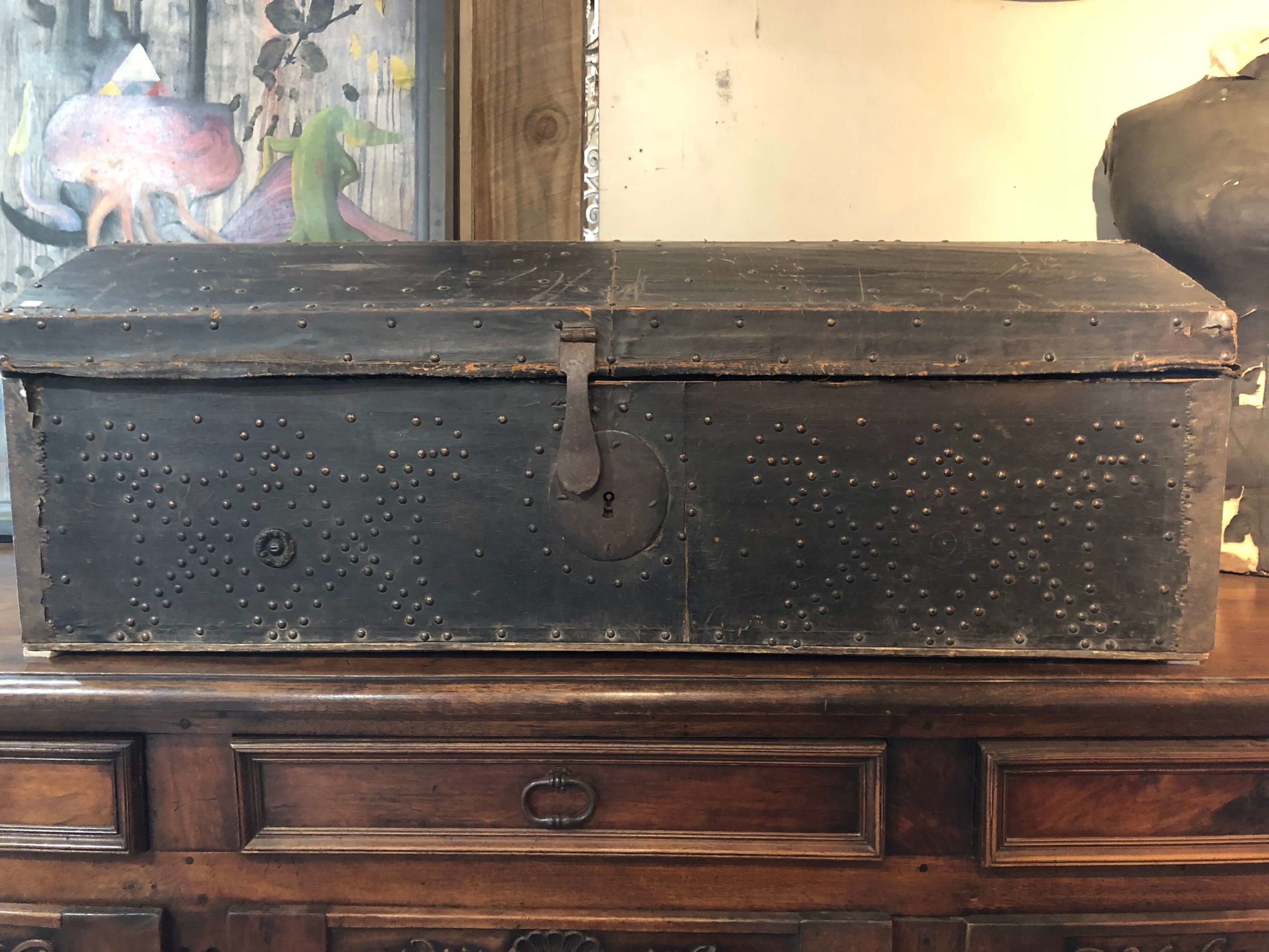 European antique trunk | Blue Hills, Round Top Antiques Fair