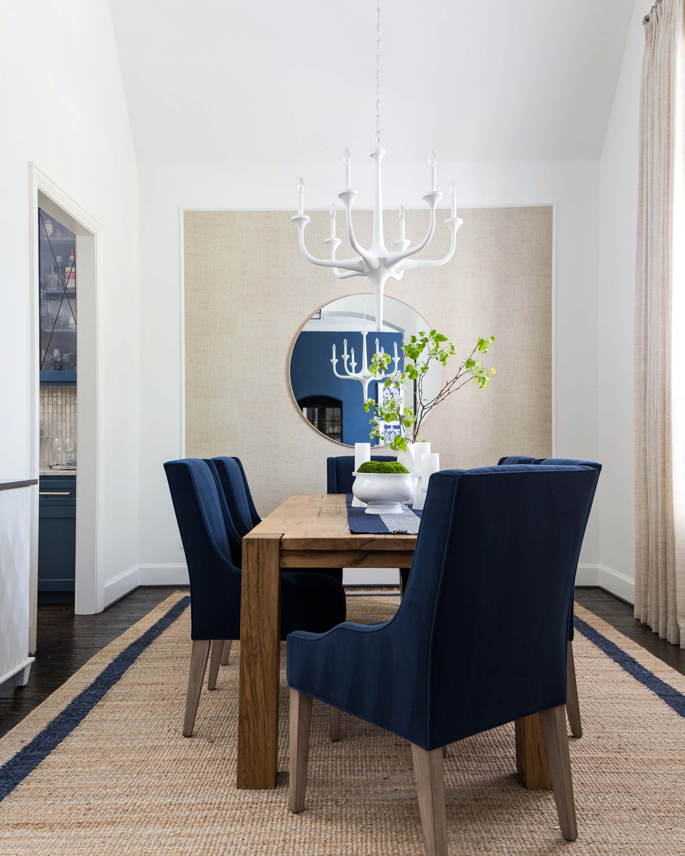 PROJECT REVEAL - A Striking Dining Room And Music Room Made Over With High Contrast | Designer: Carla Aston, Photographer: Colleen Scott | #diningroom #navyandwhite
