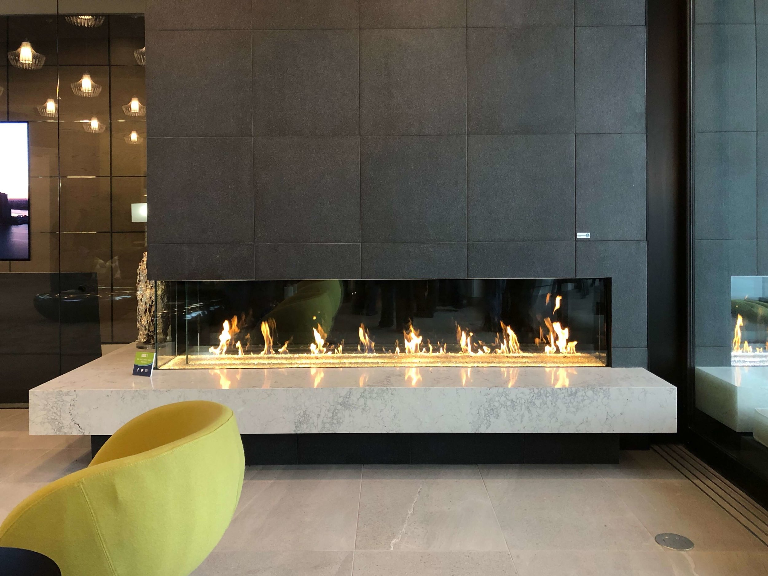 Linear fireplace, The New American Home Tour 2019 | Designed and built by Sun West Custom Homes #contemporaryhome #fireplace