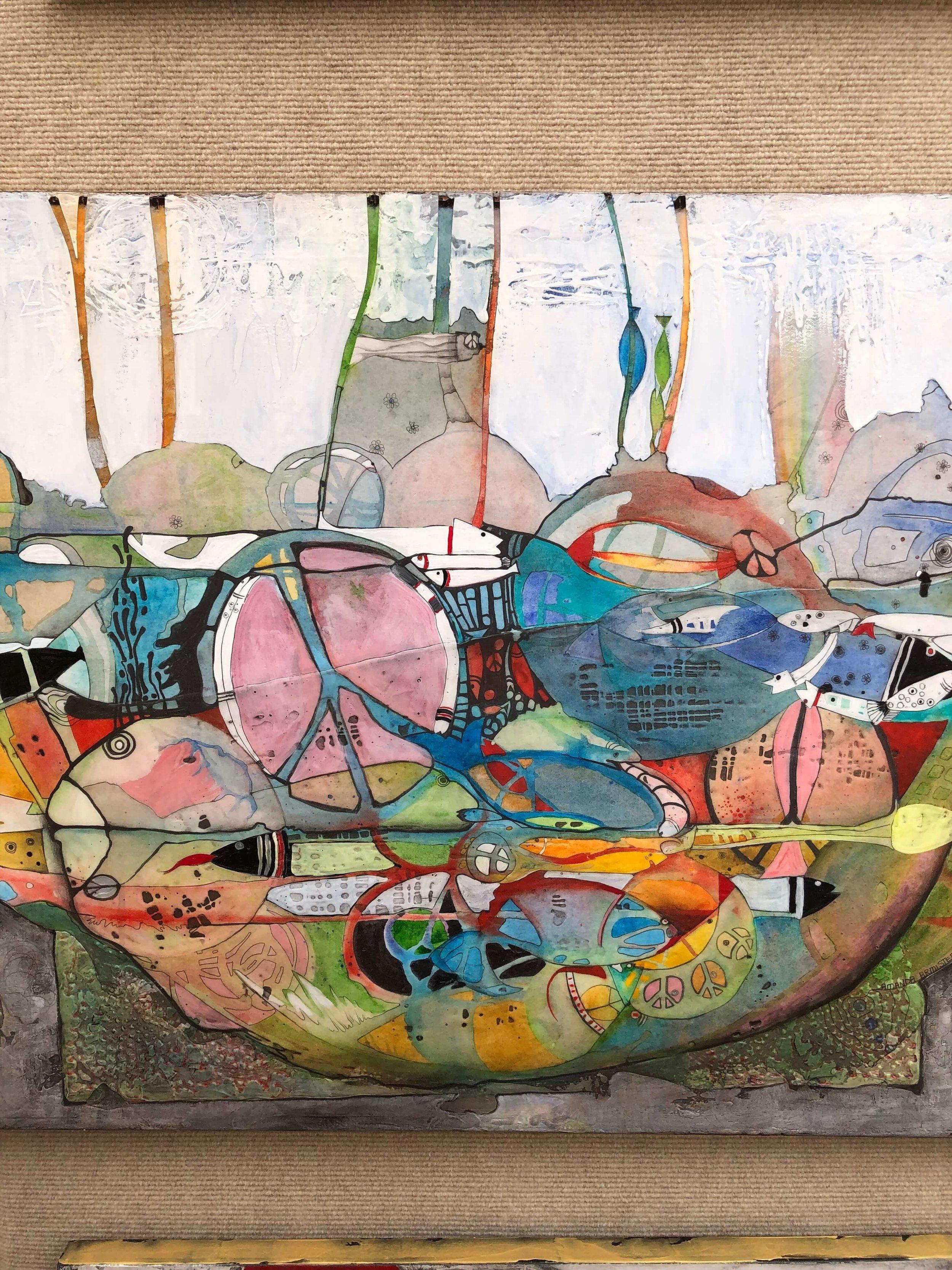 Artwork of artist, Amanda Armistad, seen at The Woodlands Waterway Art Festival