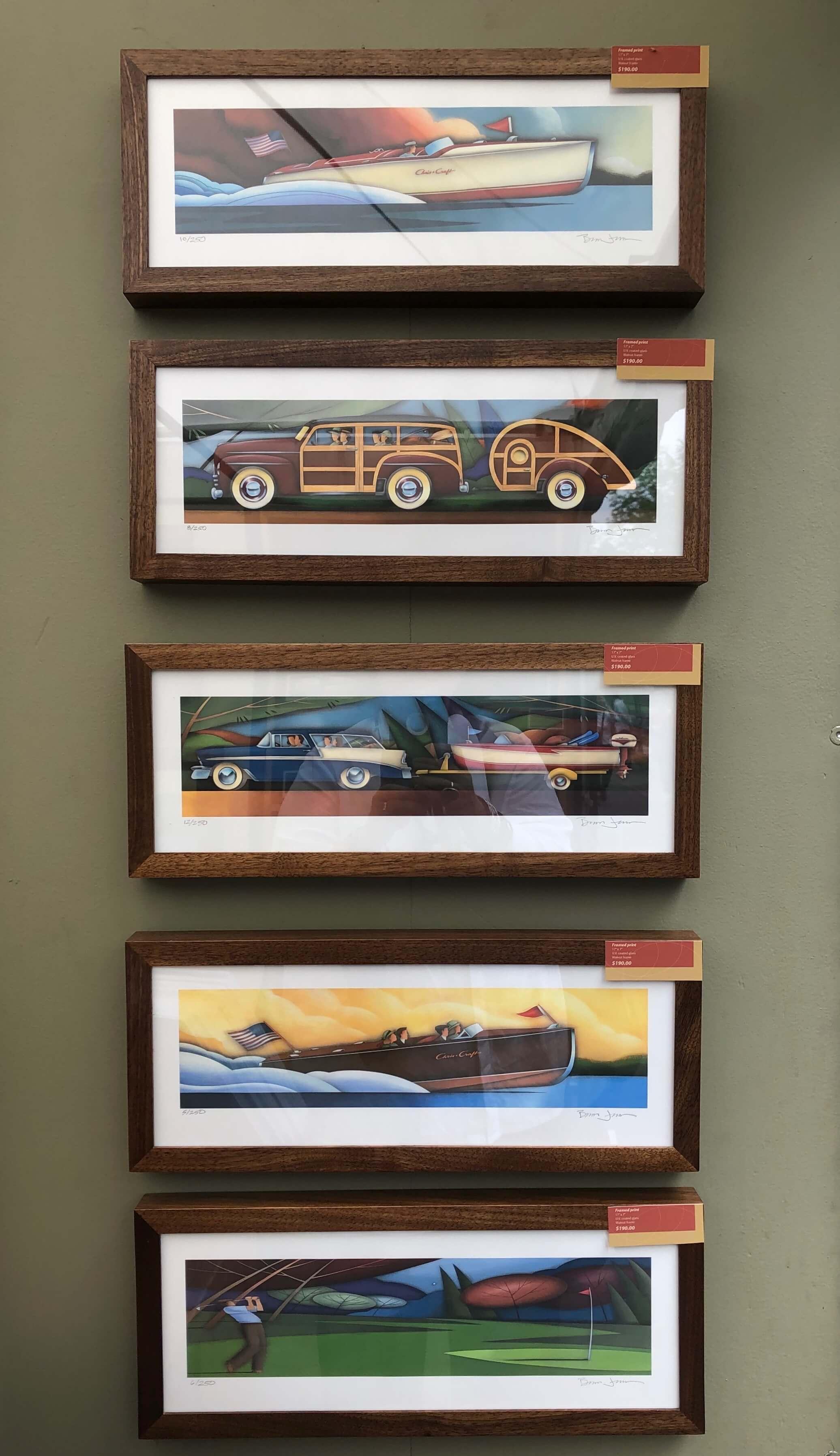 Artwork of artist, Brian Jensen, seen at The Woodlands Waterway Art Festival