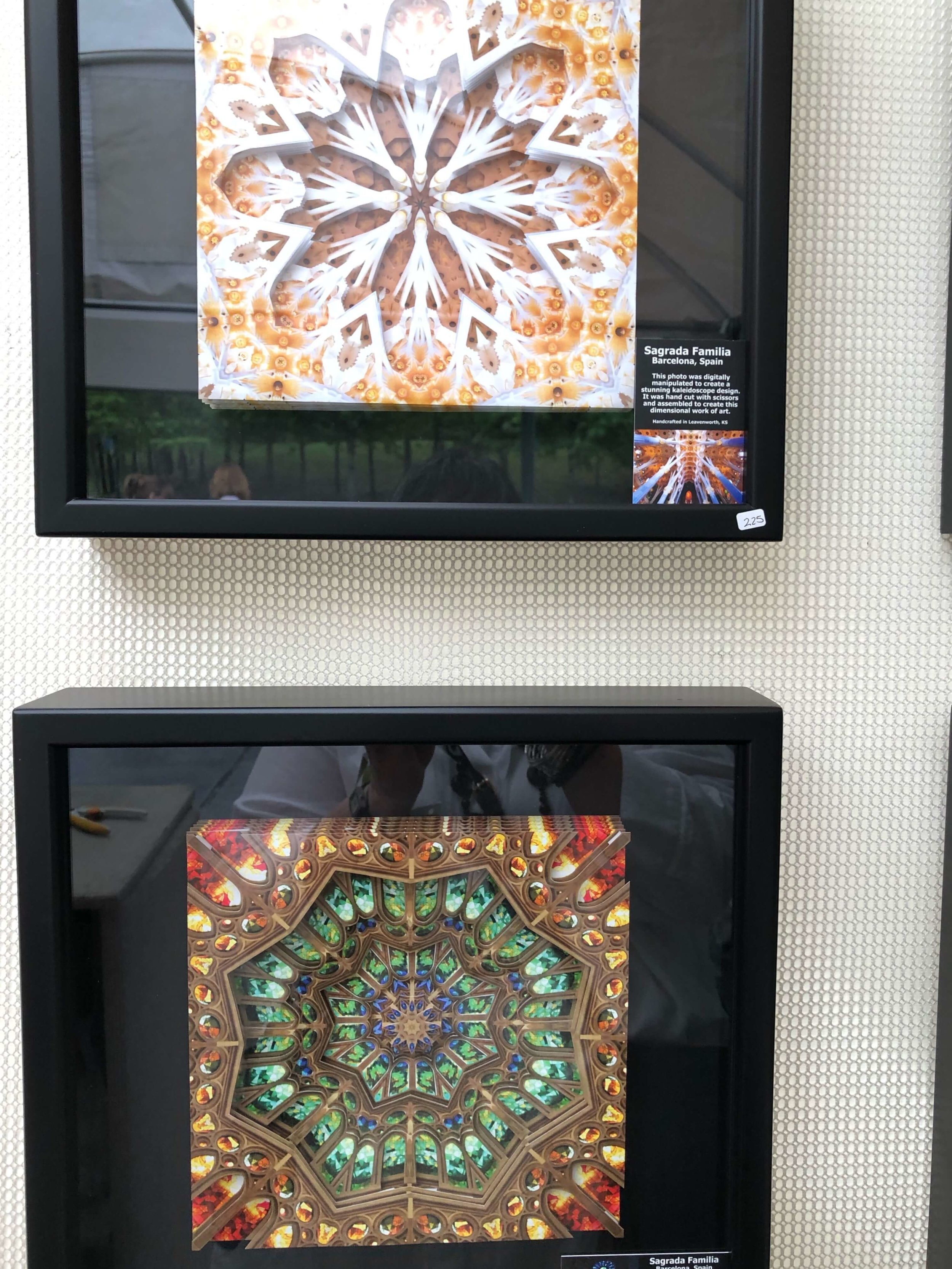 Hand cut artworks by Dawn LaGrave, seen at The Woodlands Waterway Art Festival