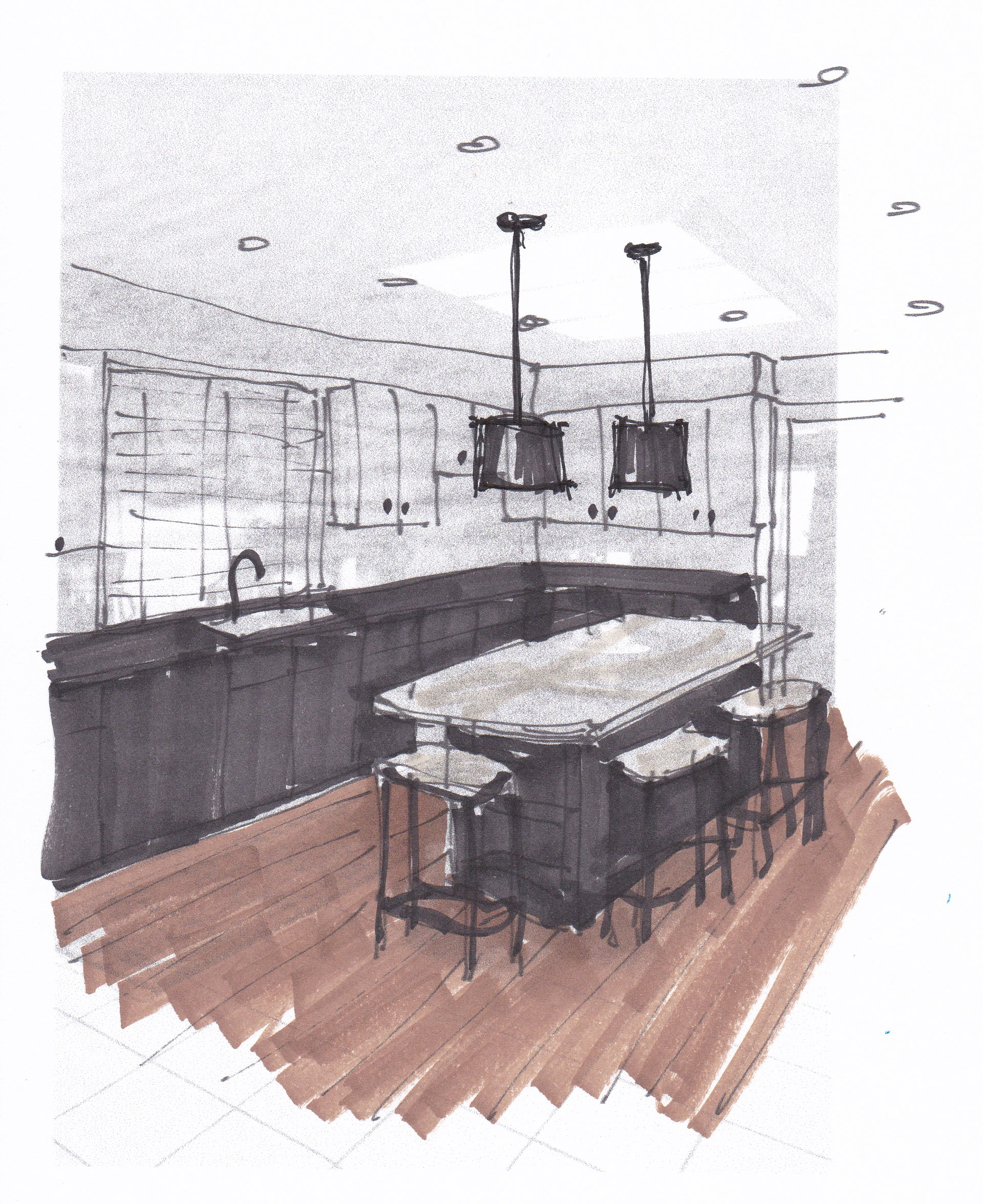 Quick sketch of two tone kitchen for consultation client - Carla Aston, Designer