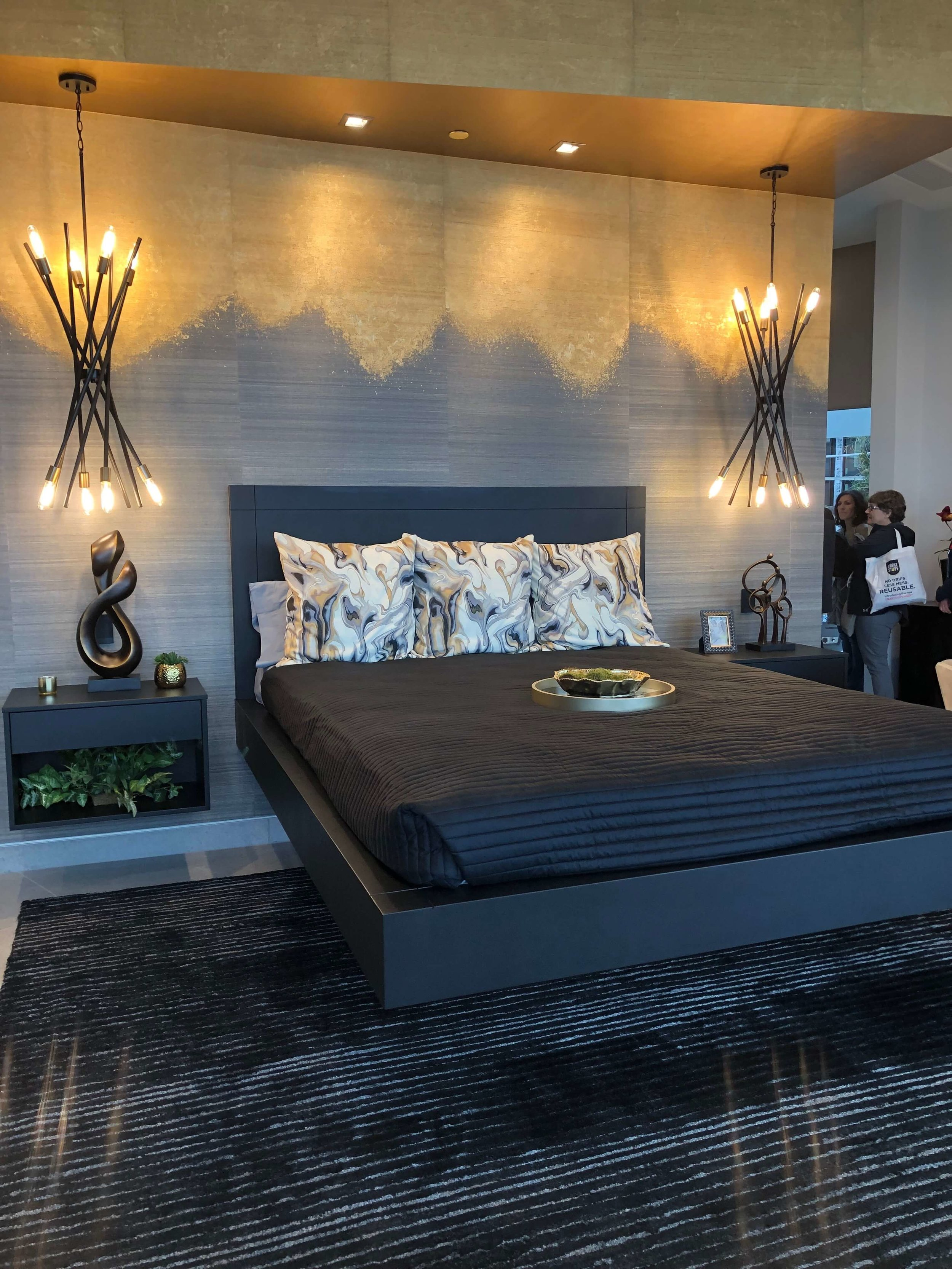 Master bedroom with cantilevered bed, The New American Home Tour 2019 | Designed and built by Sun West Custom Homes #contemporaryhome #bedroom