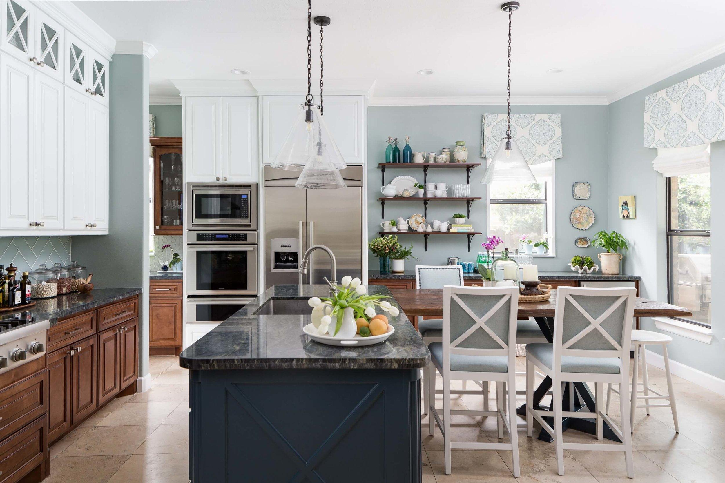 Coastal style kitchen makeover w/ open shelves and reclaimed wood countertop - Carla Aston, Designer | Colleen Scott, Photographer | #turquoisekitchen #coastalkitchen #openshelves