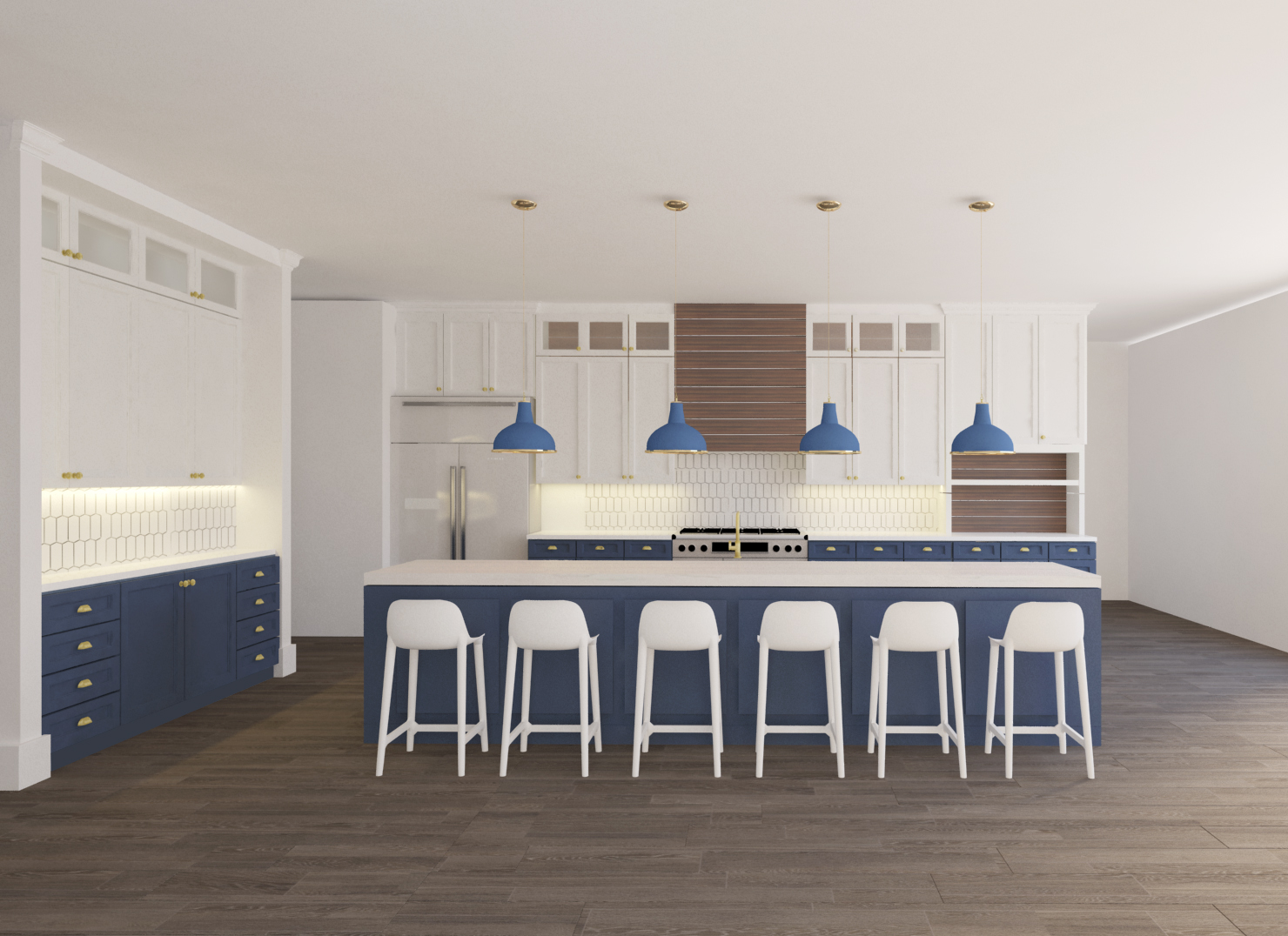 Kitchen remodel design rendering of blue and white kitchen, large island with shiplap wood hood | Designer: Carla Aston, Rendering: Shebin Poothery #kitchendesign #blueandwhitekitchen