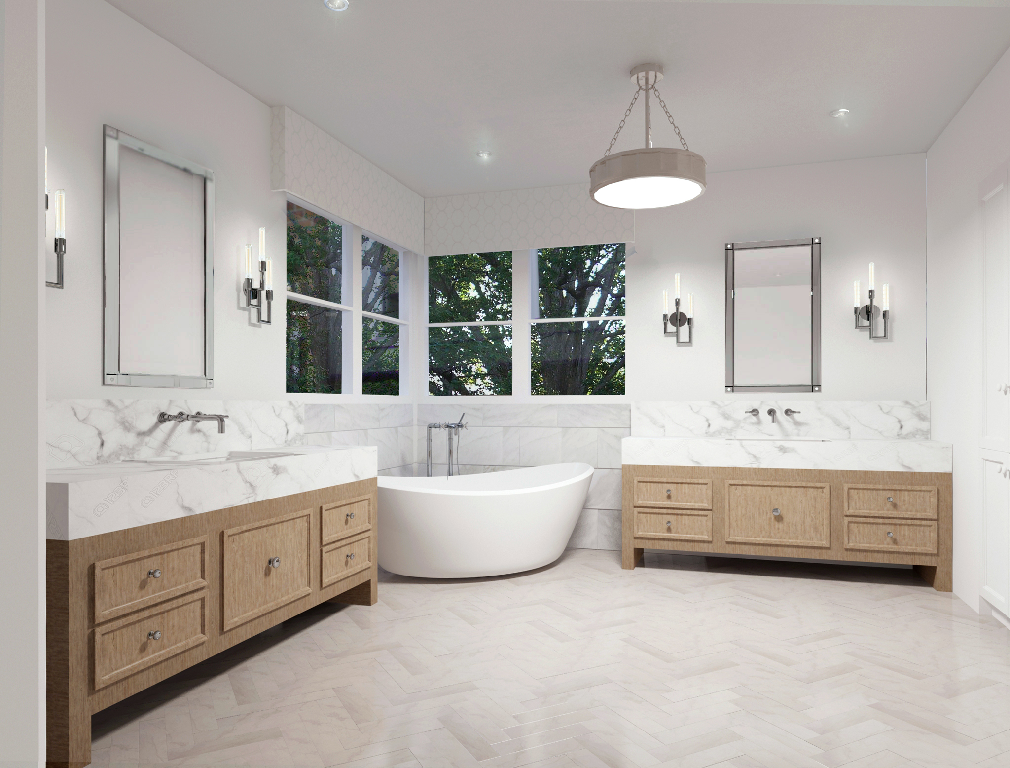 Master bathroom design with white marble look tile and wood vanities | Designer: Carla Aston, Rendering: Shebin Poothery #masterbathroom #whitemarblebath