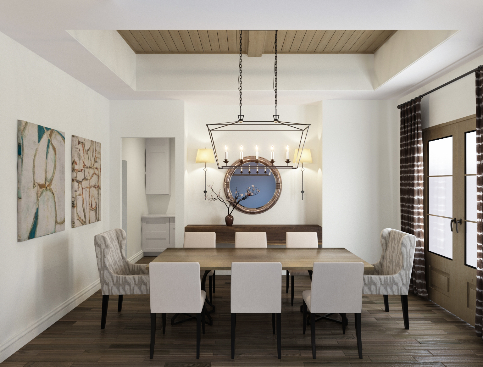 Dining room with wood ceiling and tall French doors | Carla Aston, Designer | Shebin Poothery, Rendering #diningroom #woodceiling