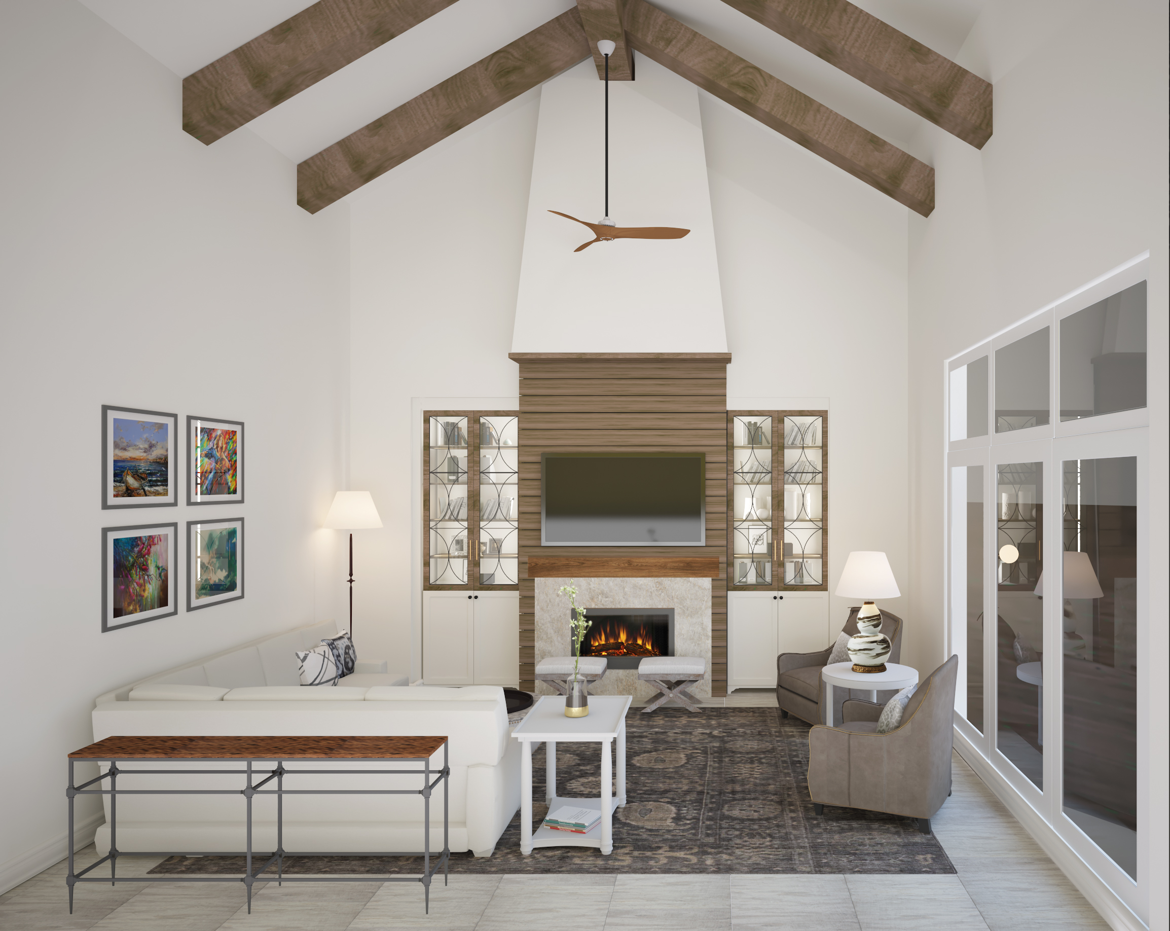 Family room with high ceiling beams, shiplap fireplace, built-in cabinetry | Carla Aston, Designer | Shebin Poothery, Rendering #familyroom #shiplap #woodbeams