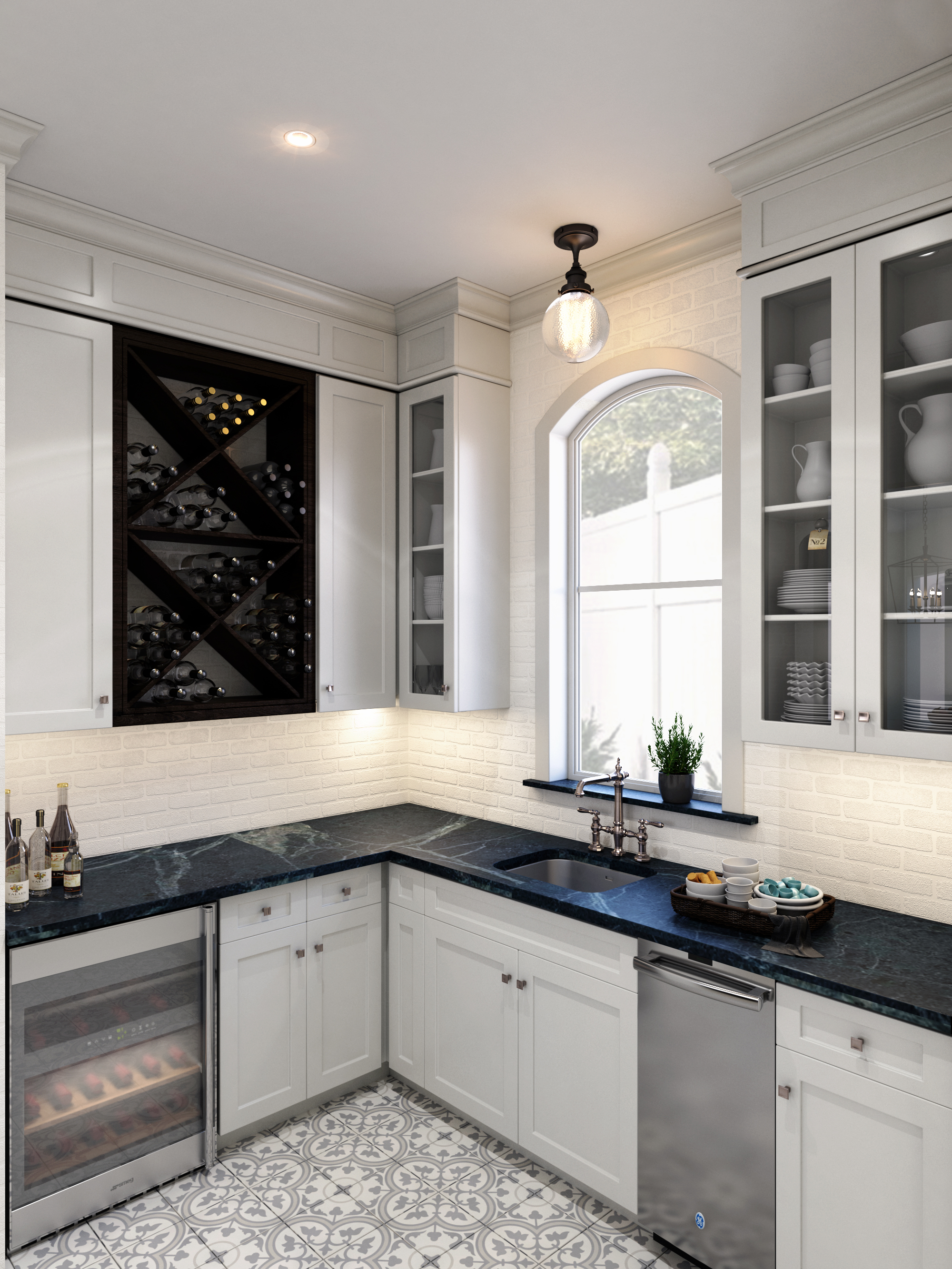 Butler's pantry design with soapstone counters, white brick walls, concrete tile floors and wine storage. Carla Aston, Designer | Shebin Poothery, Rendering | #butlerspantry #concretetile #whitebrick