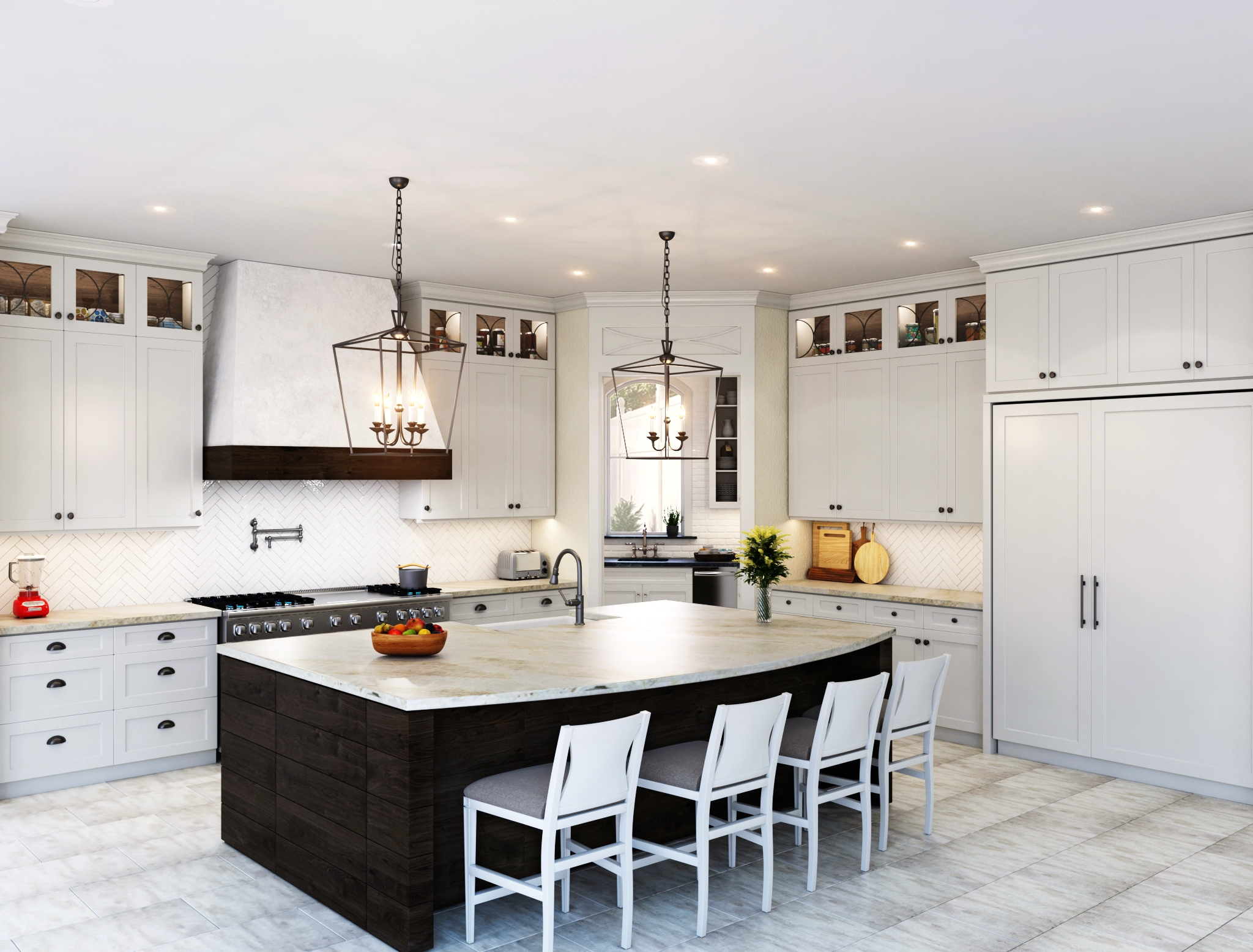 "White kitchen rendering with 60"" pro range and Taj Mahal quartzite countertops 
