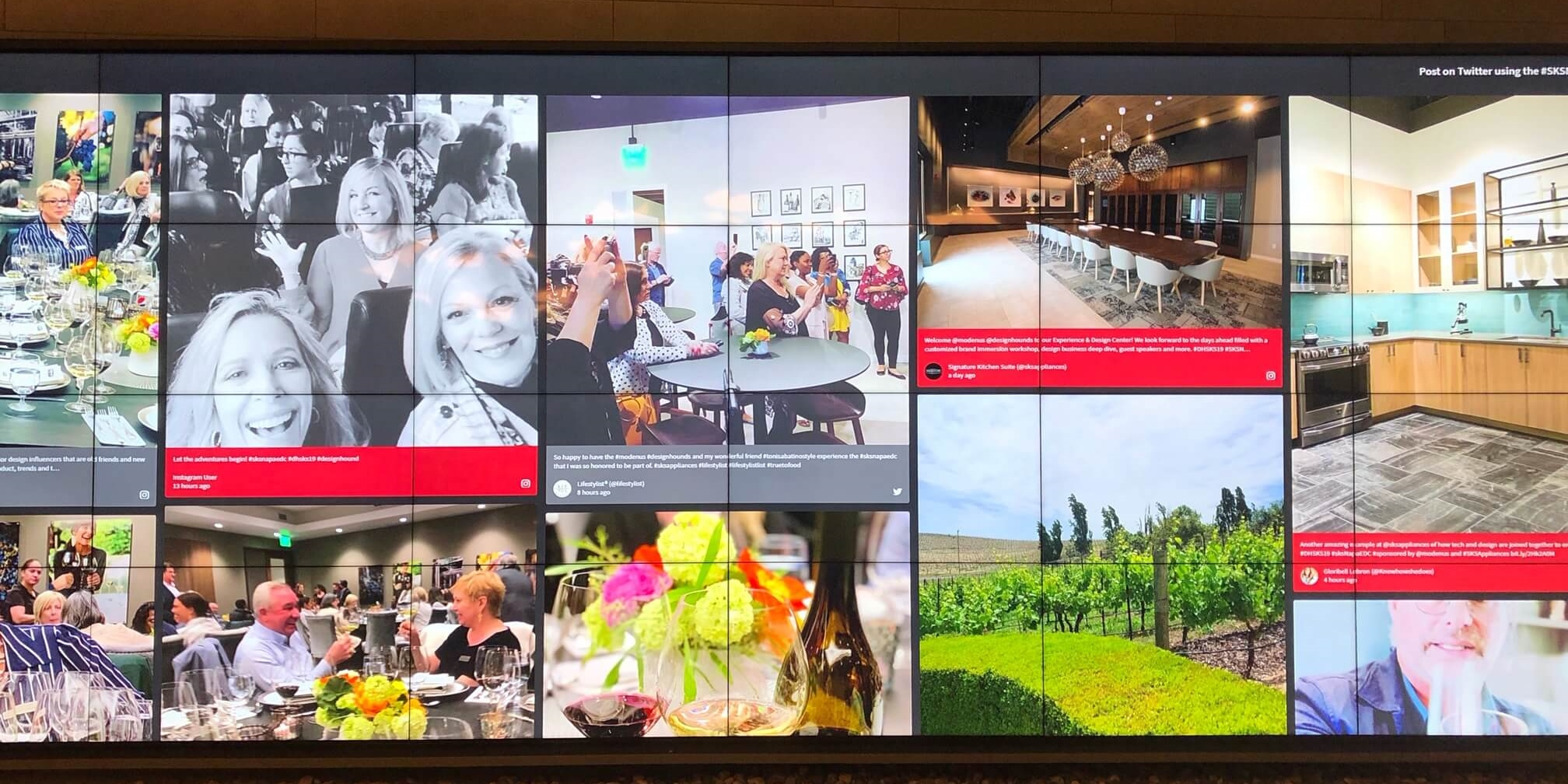 In the lobby of Signature Kitchen Suites Appliances' Experience and Design Center, all the posts from our Instagram accounts were shared here on the wall of tv screens, rotating through like a highlight reel, as we participated in all the events throughout the session. So impressive!